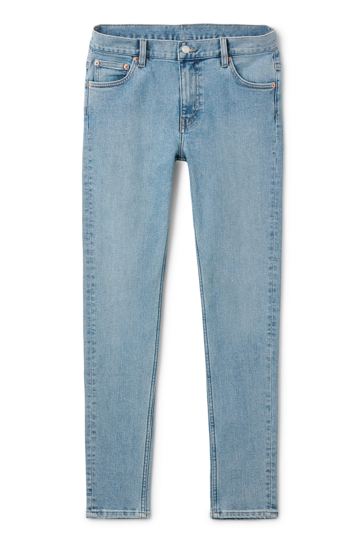 Front image of Weekday form washed blue jeans in blue