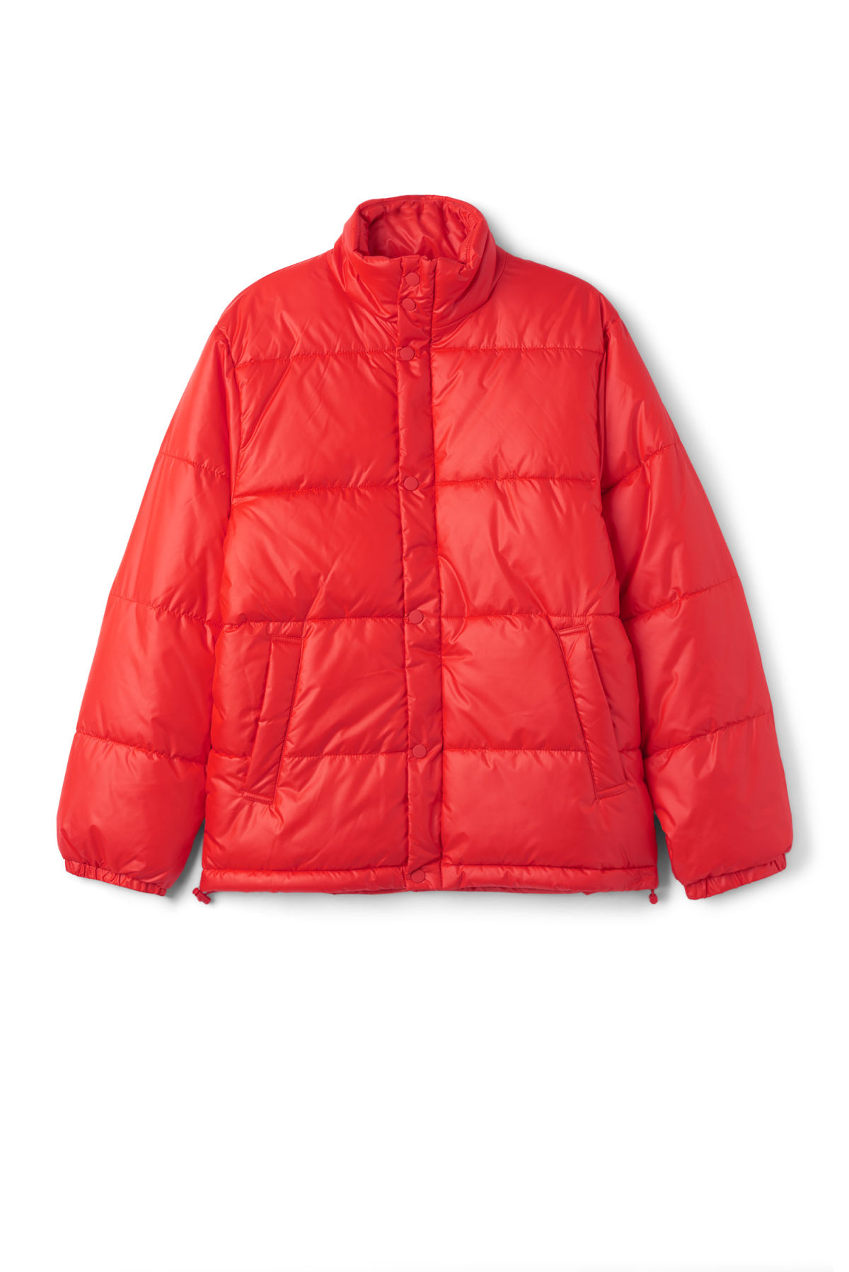 Front image of Weekday ply jacket in red