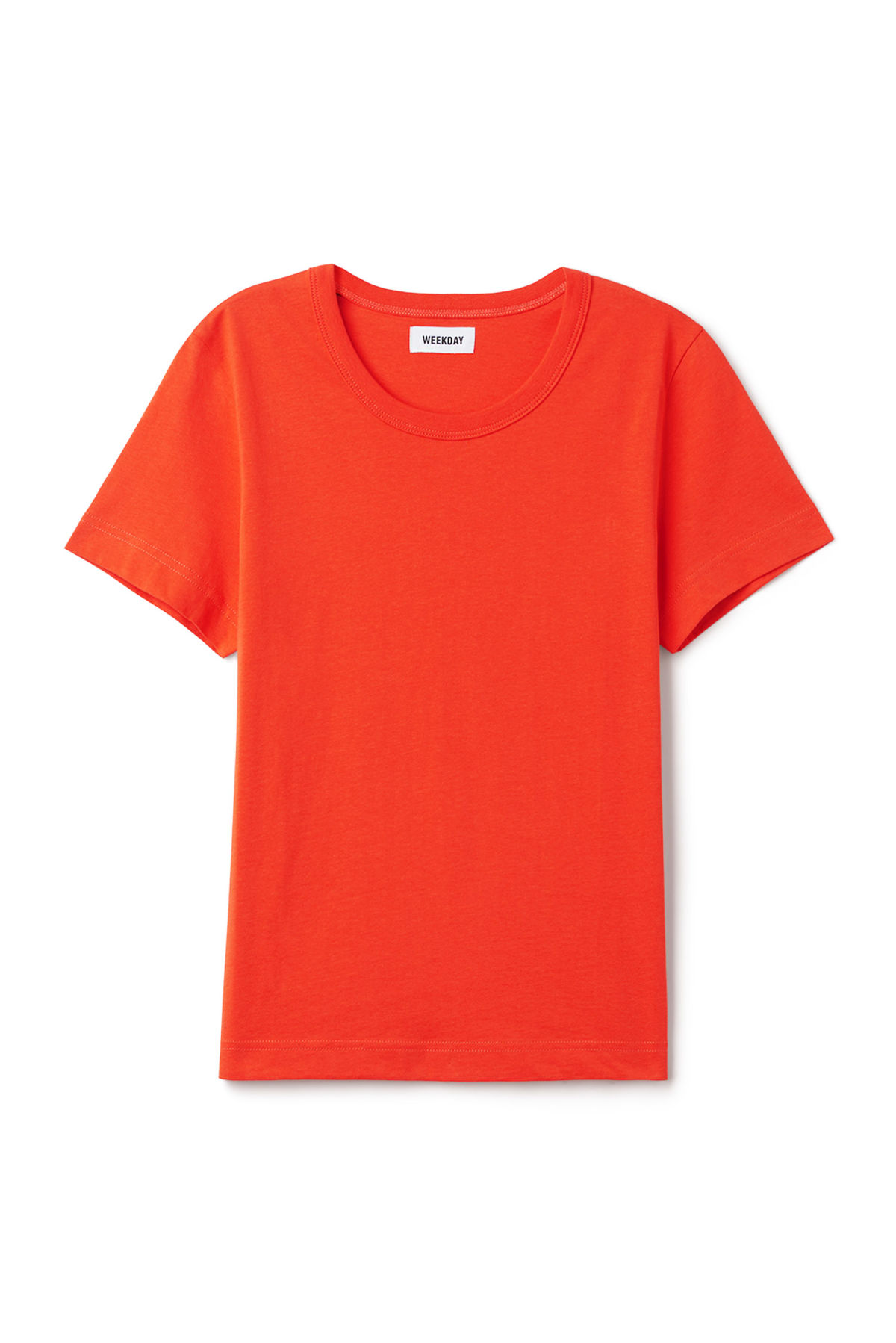 Front image of Weekday kate t-shirt in orange