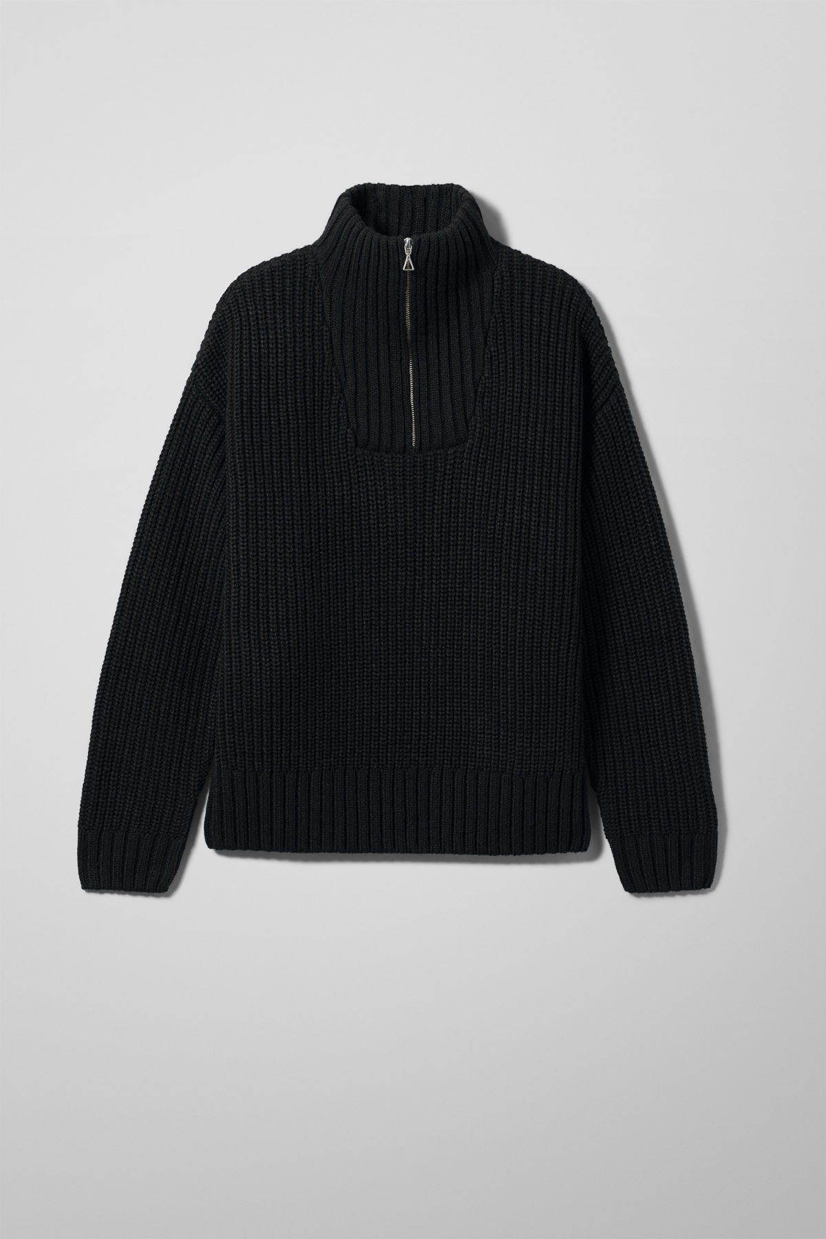 Front image of Weekday arnold sweater in black