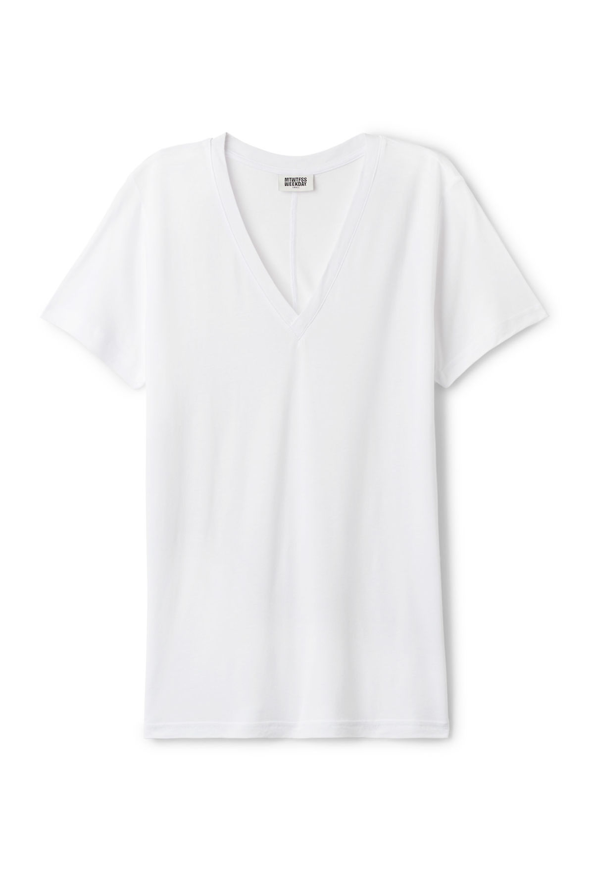 Front image of Weekday original v-neck in white