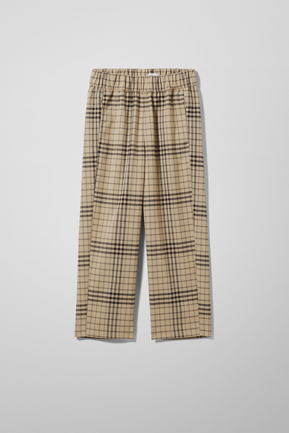 Front image of Weekday amelia woven trousers in beige