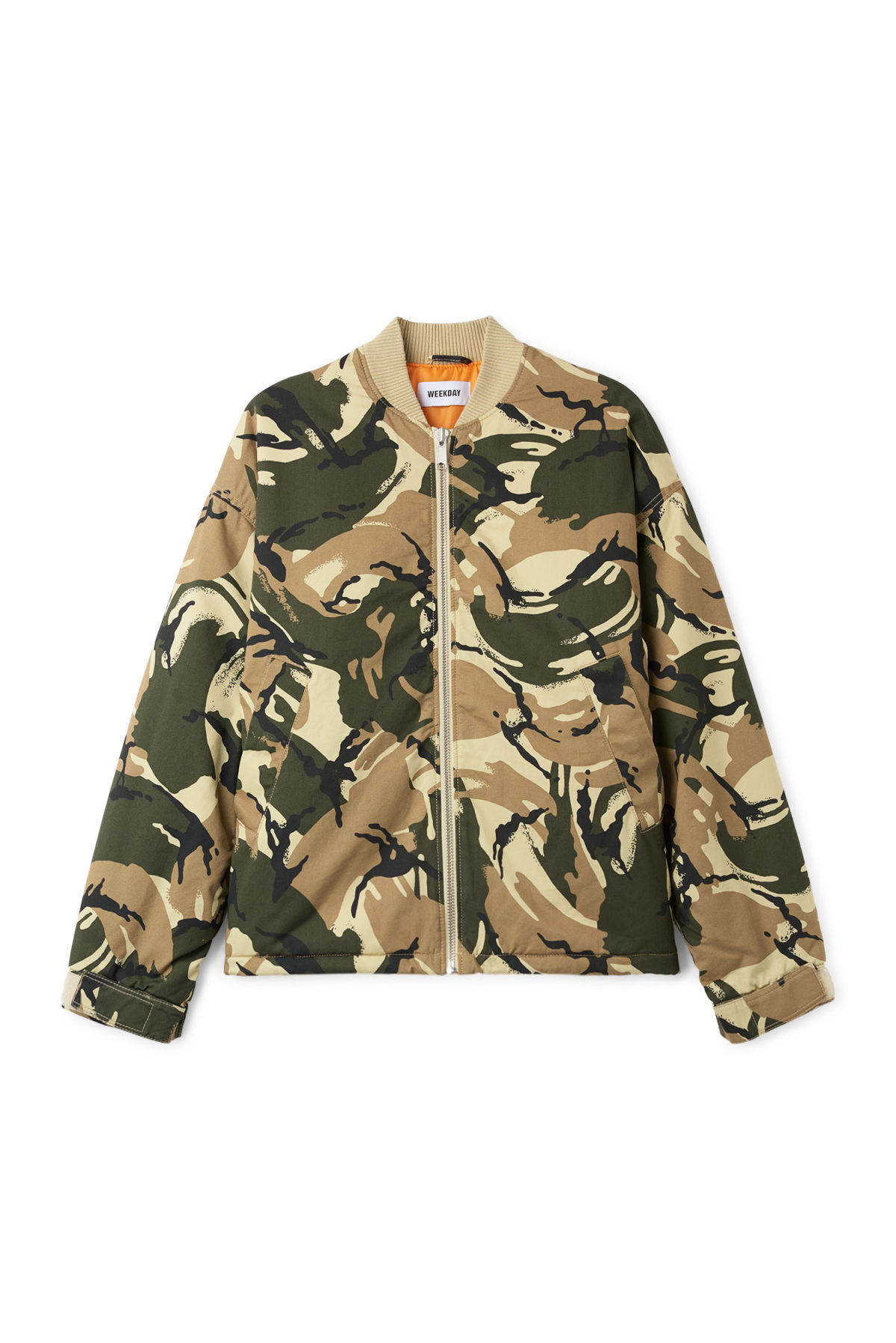 Front image of Weekday even camo bomber in green