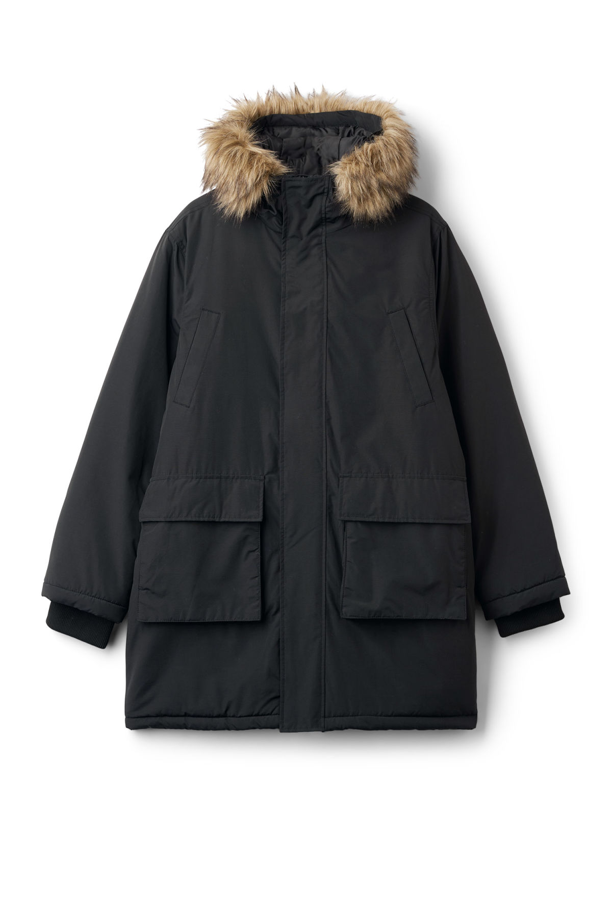 Front image of Weekday ed parka in black