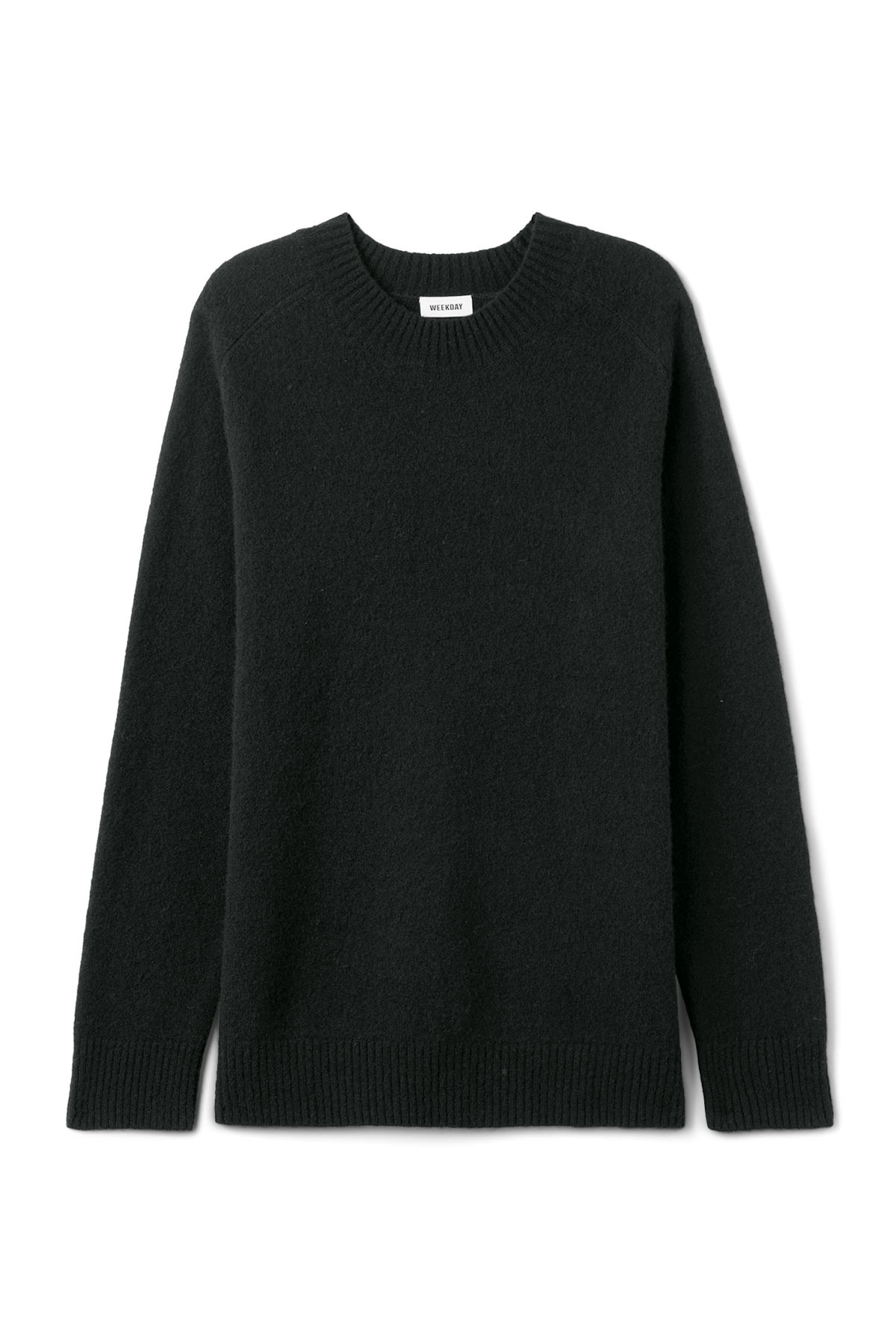 Front image of Weekday grint wool sweater in black