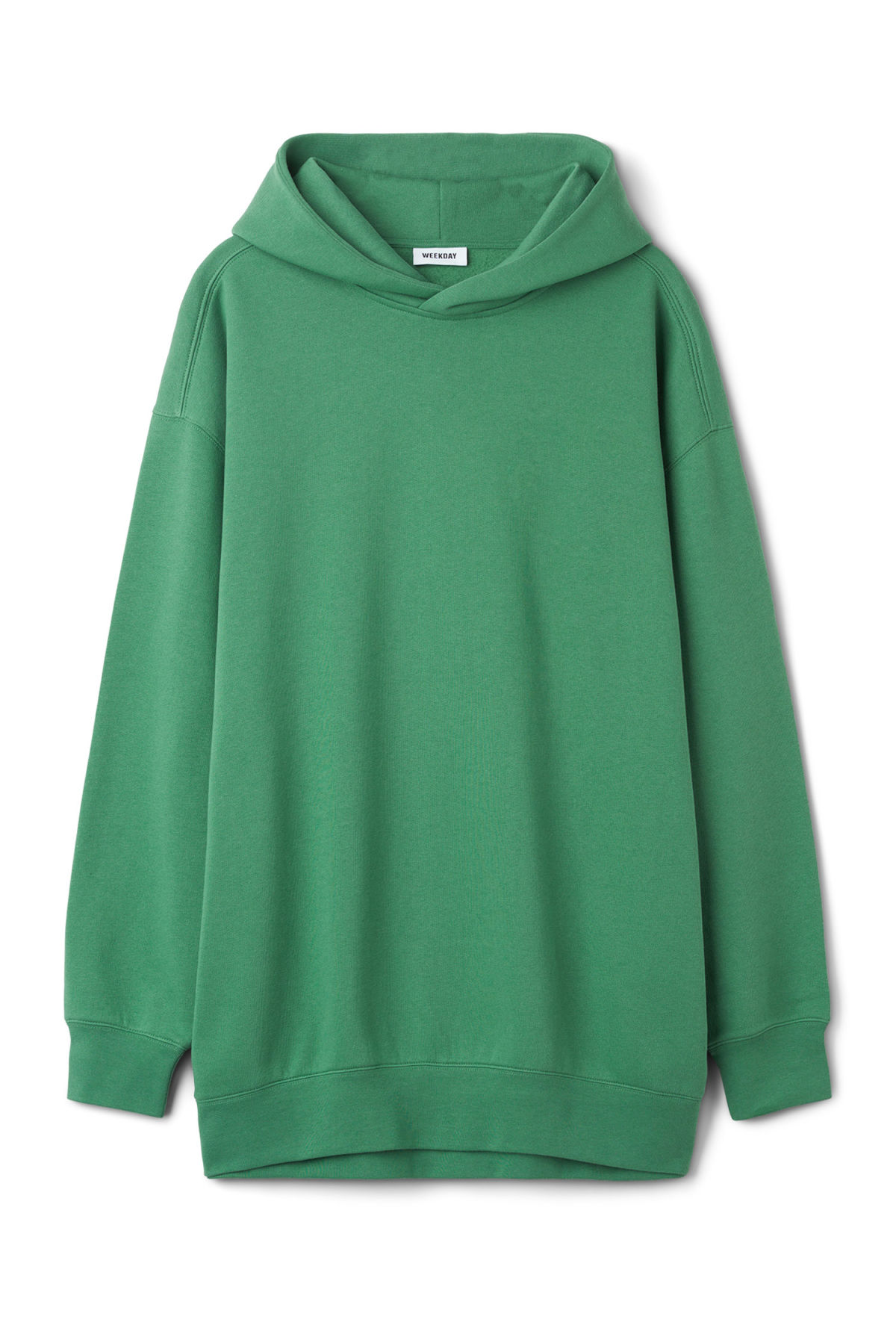 Front image of Weekday page hooded sweatshirt in green