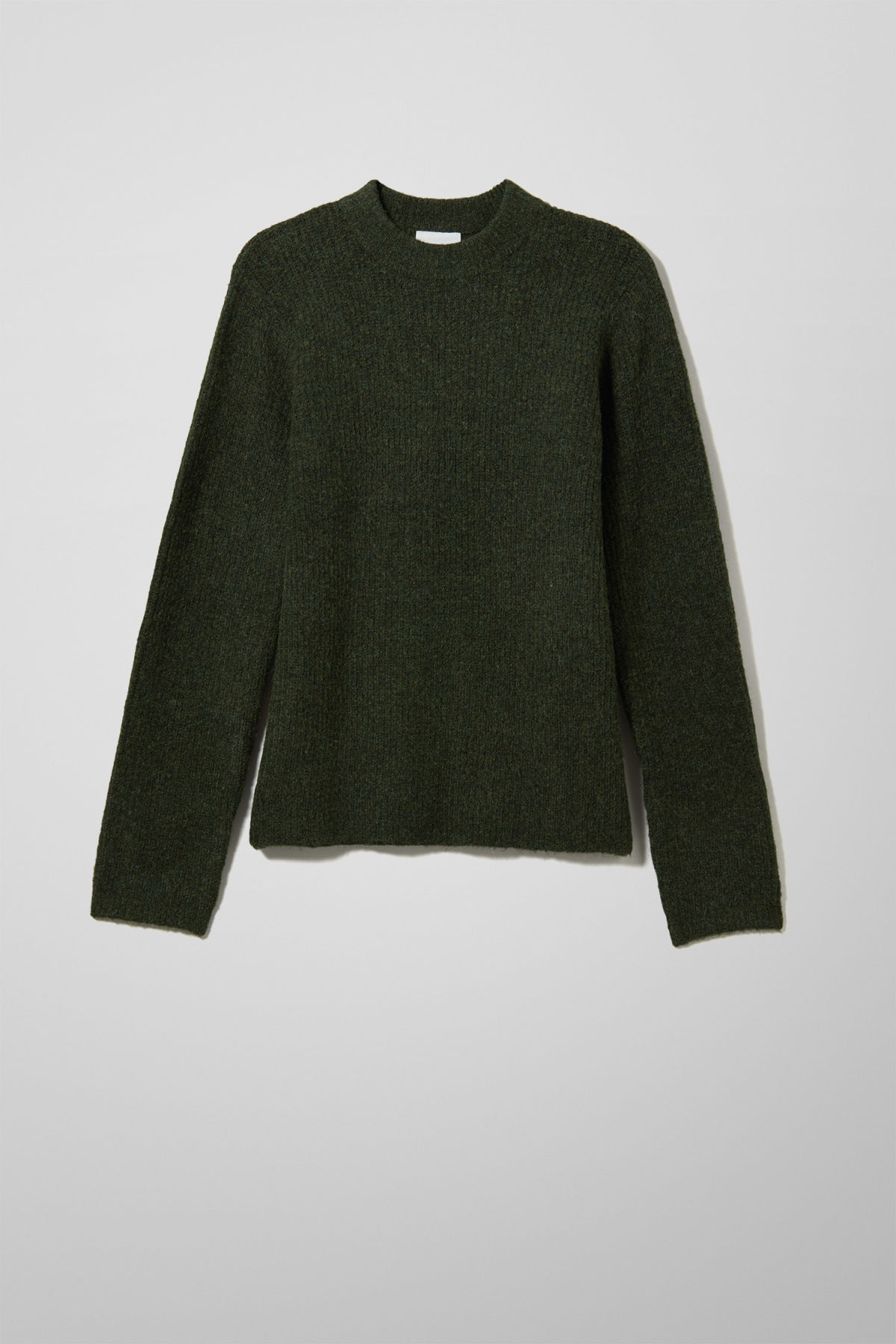 Front image of Weekday mino sweater in green