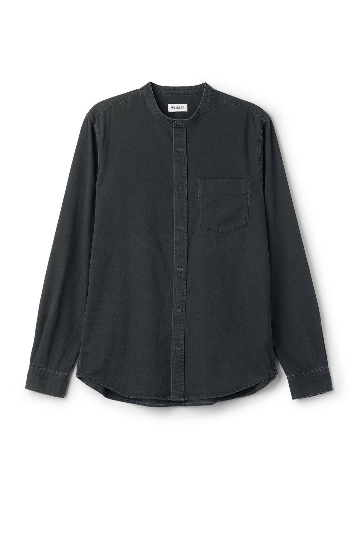 Front image of Weekday less shirt washed black in black
