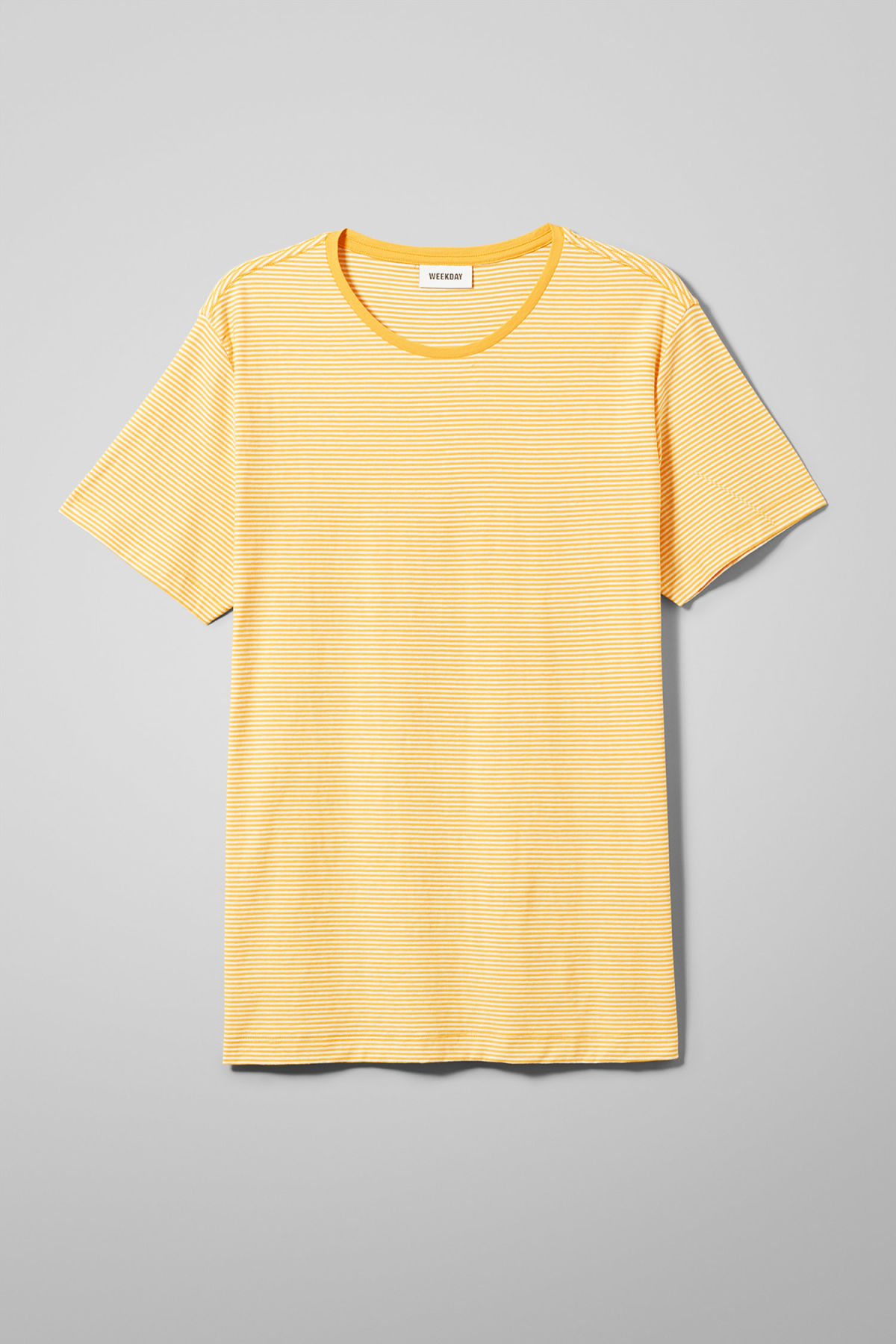 Front image of Weekday darko stripe t-shirt in yellow
