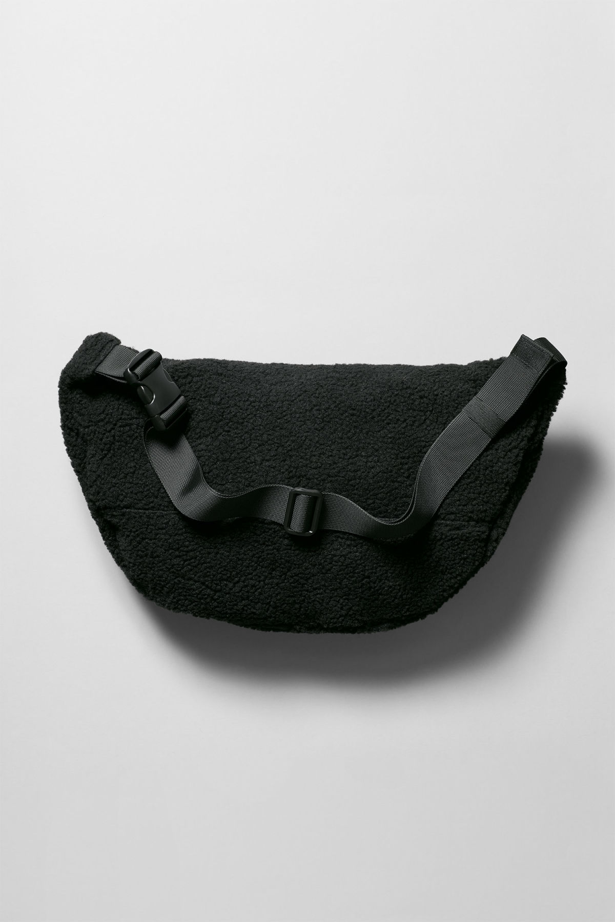 Back image of Weekday park pile shoulder bag in black