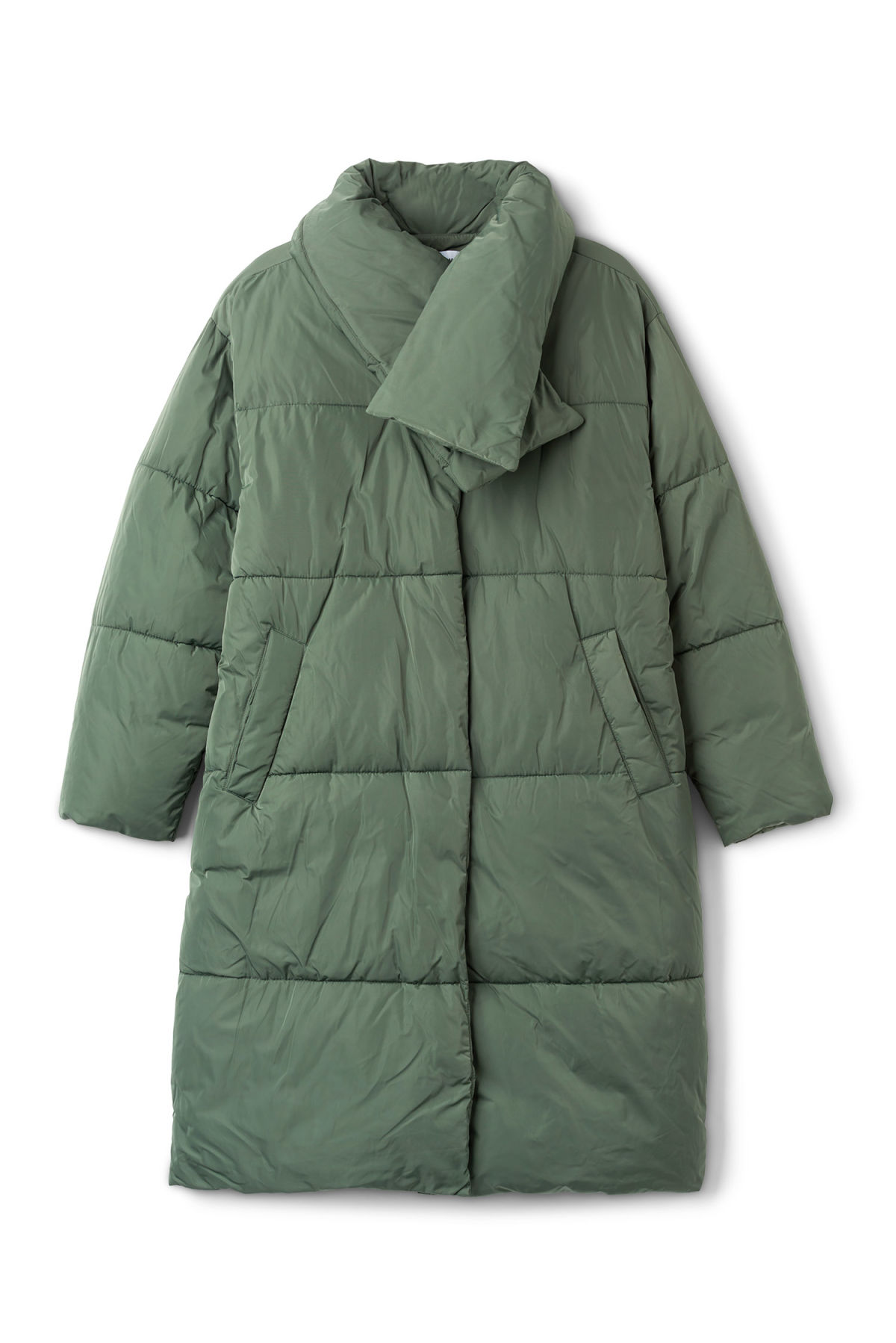 Front image of Weekday beat puffer coat in green