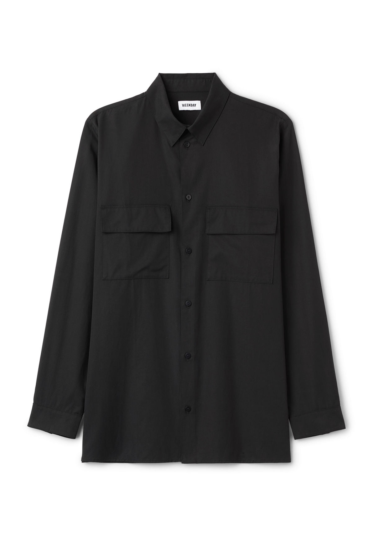 Front image of Weekday hudson shirt in black