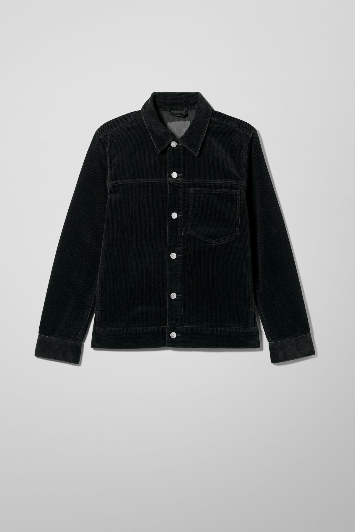 Front image of Weekday single corduroy jacket in black