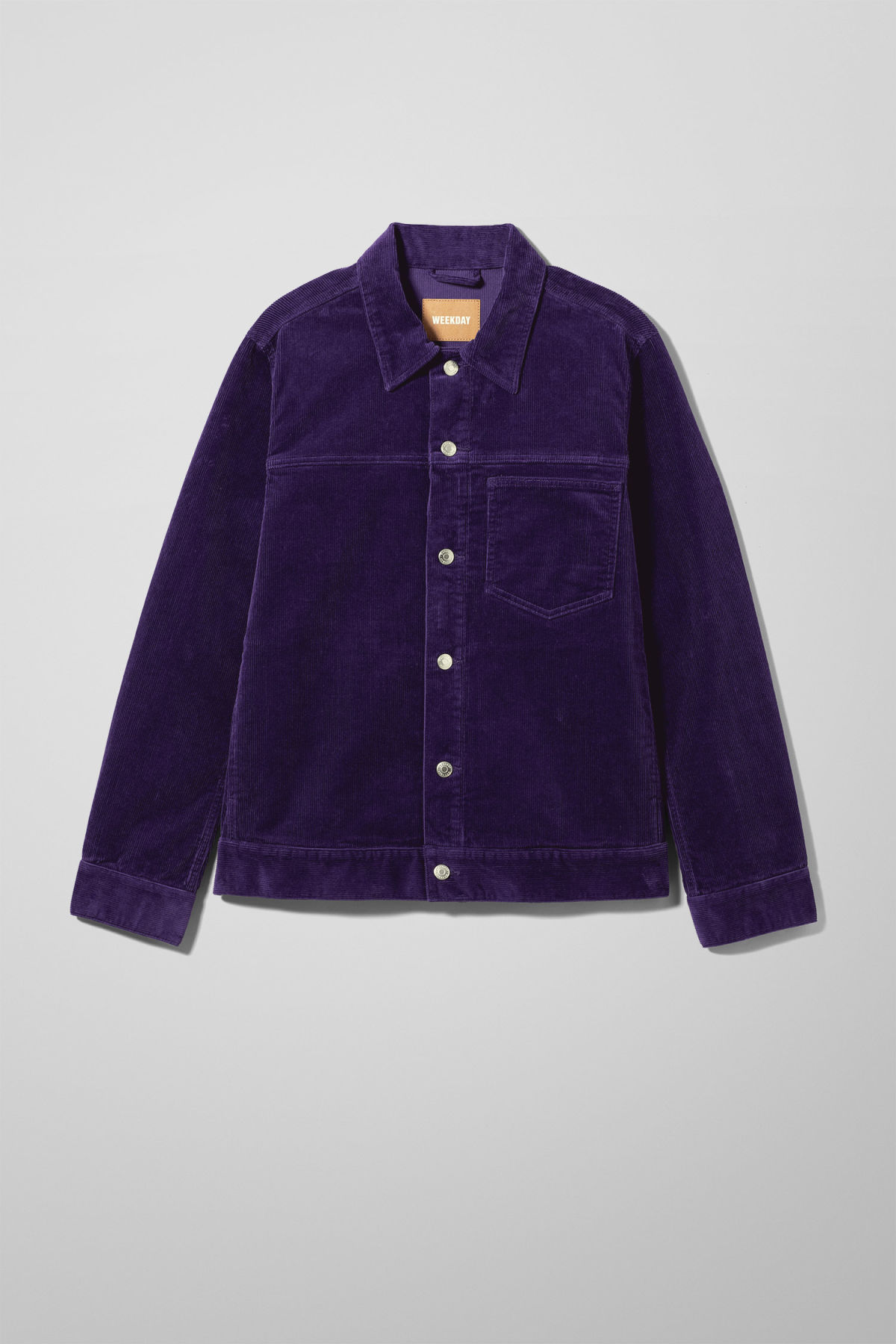 Front image of Weekday single corduroy jacket in purple