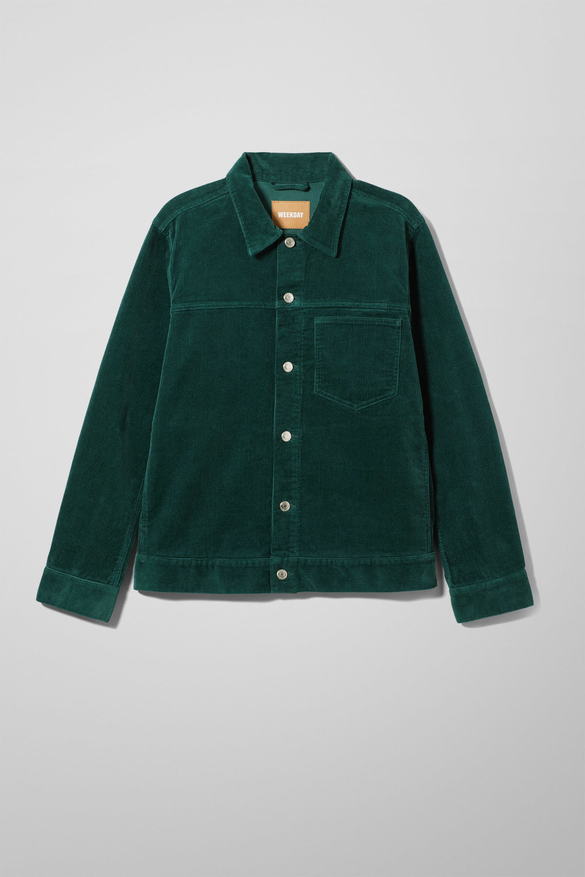 Front image of Weekday single corduroy jacket in green