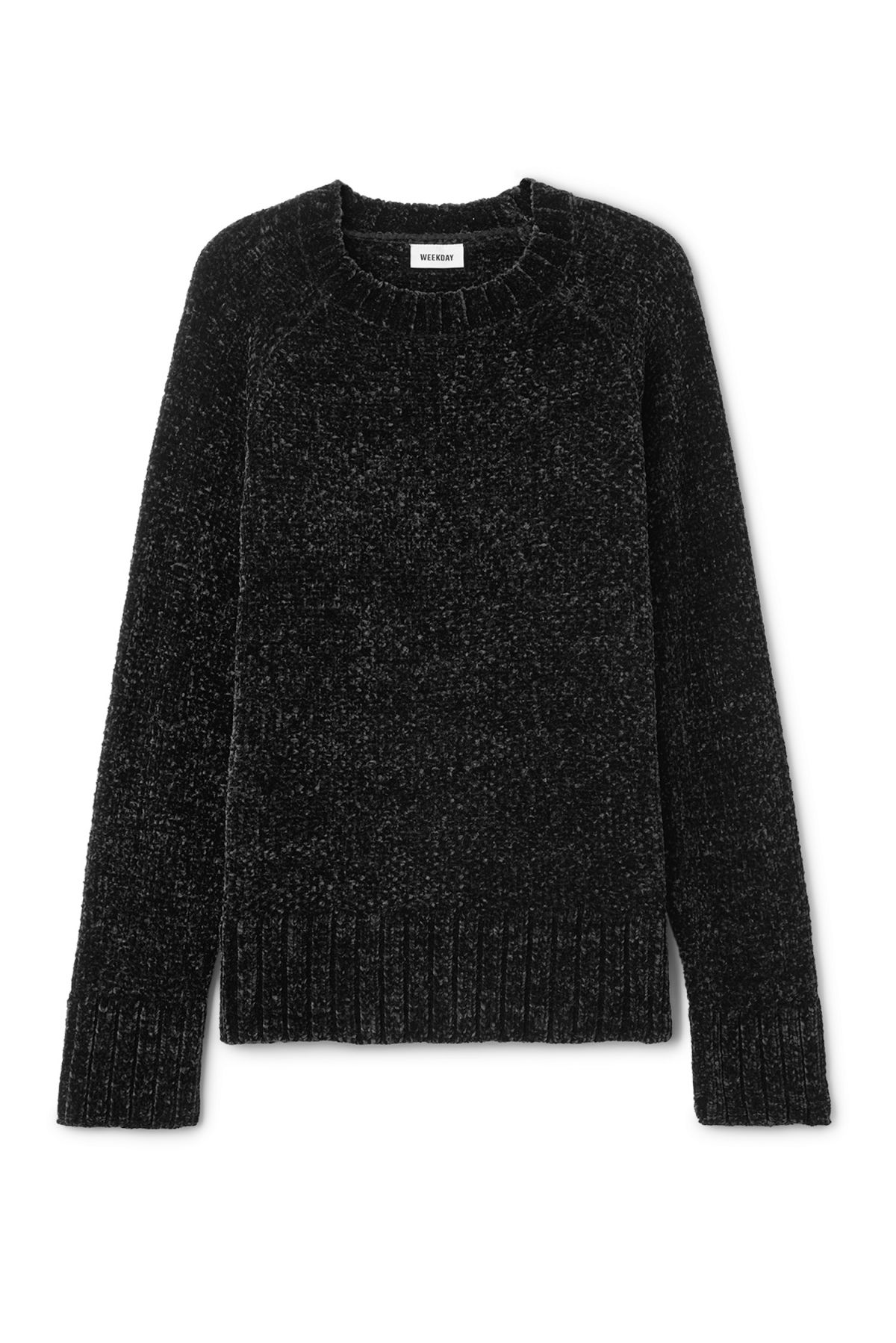 Front image of Weekday chenille sweater in black