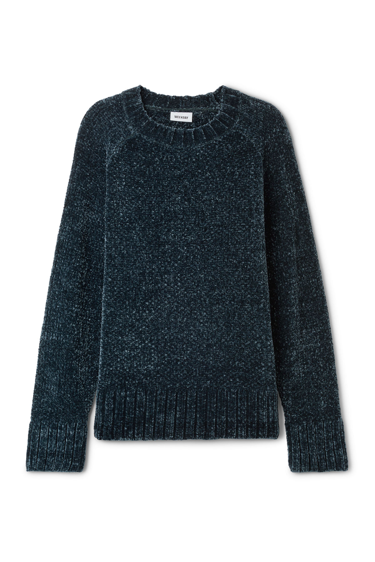 Front image of Weekday chenille sweater in blue