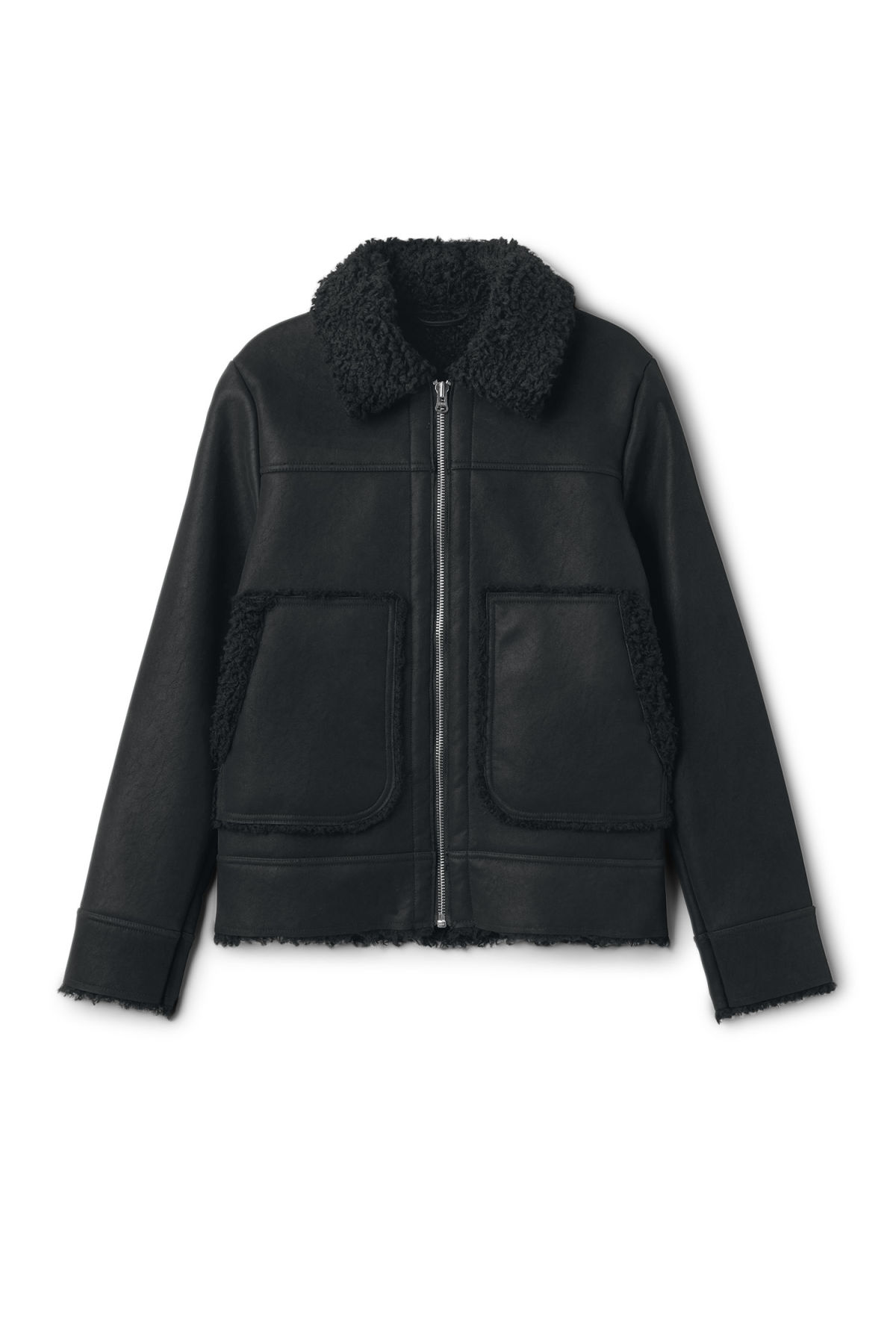 Front image of Weekday mountain jacket in black