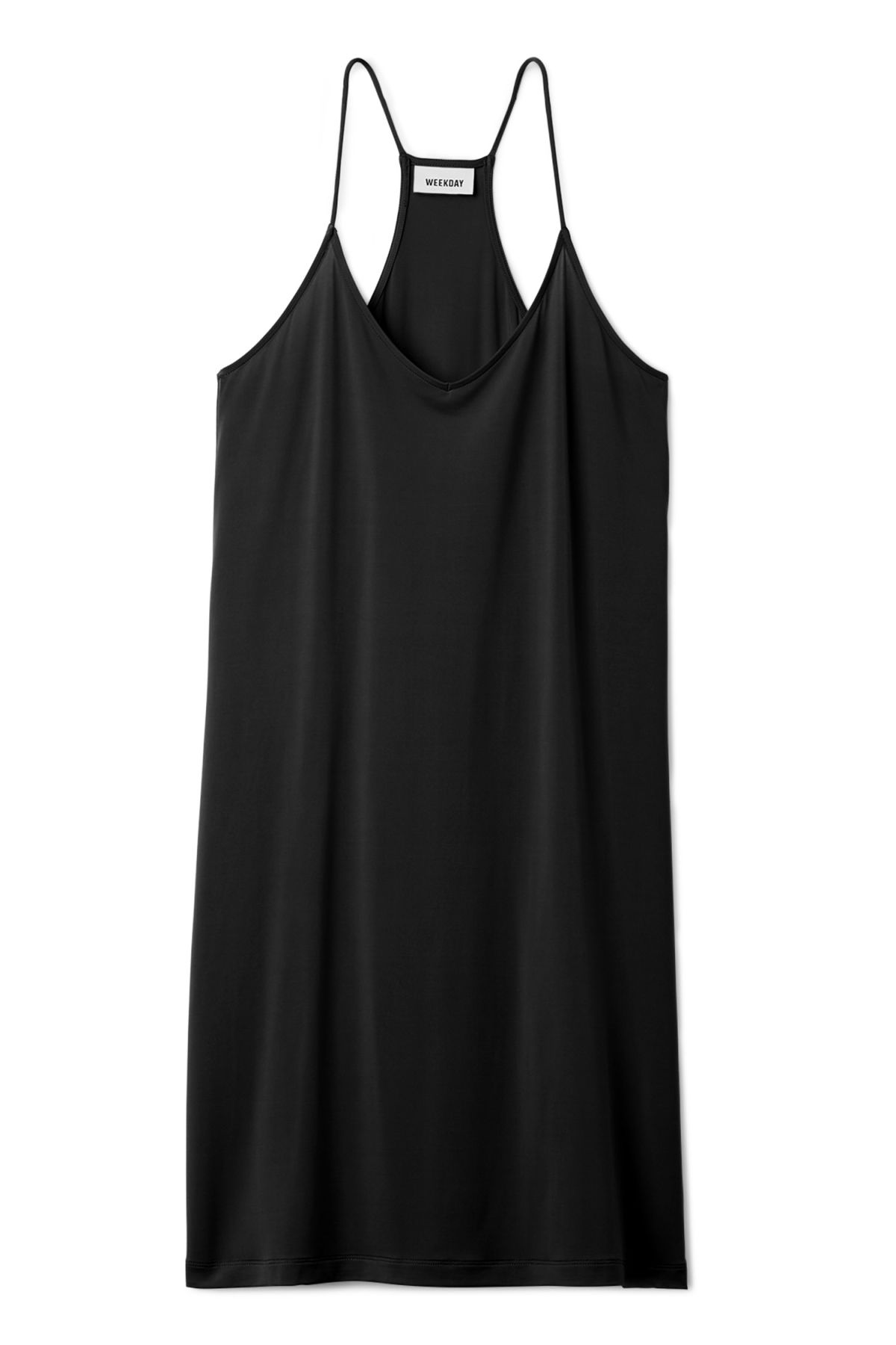 Front image of Weekday cupro dress in black
