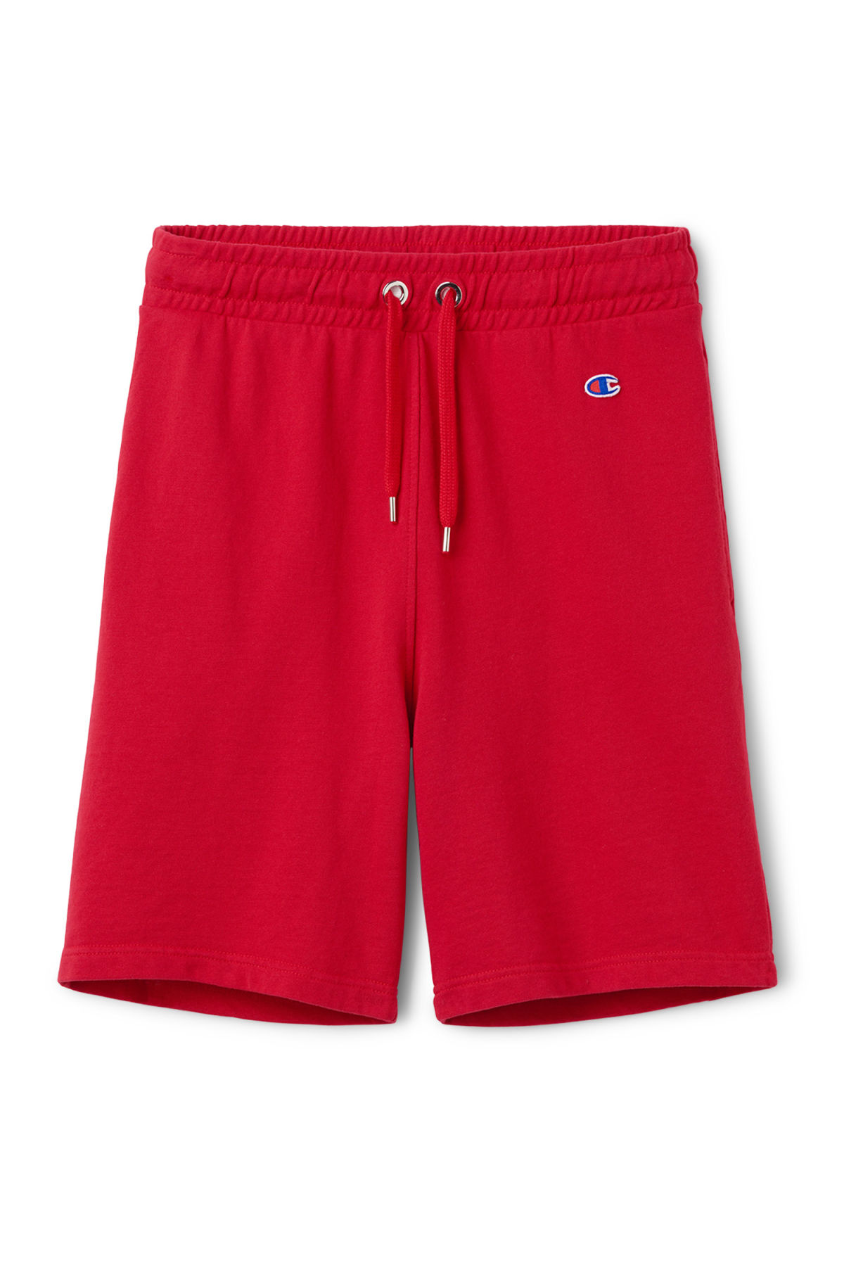 Front image of Weekday hurdle shorts in red