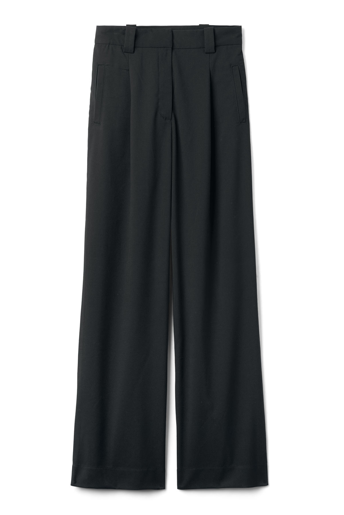 Front image of Weekday simone trousers in black