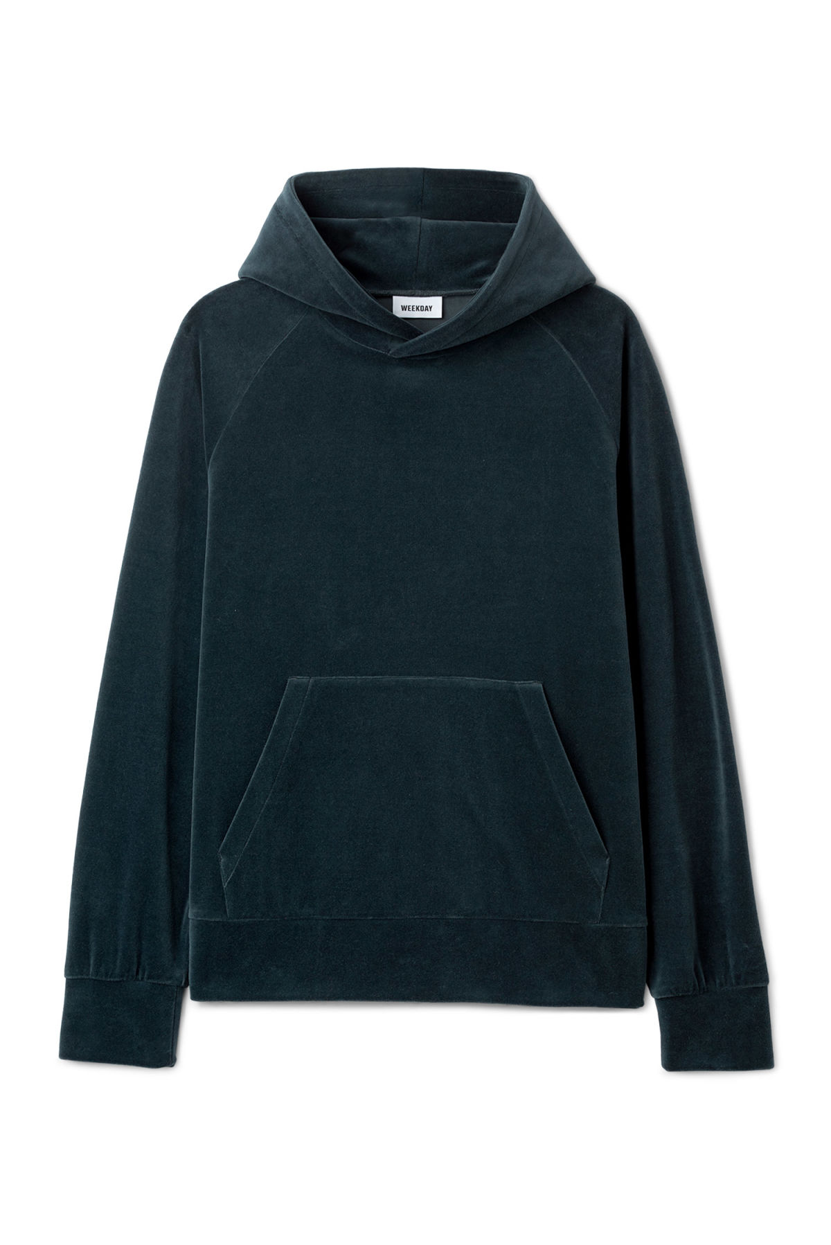 Front image of Weekday noah velvet hoodie in black