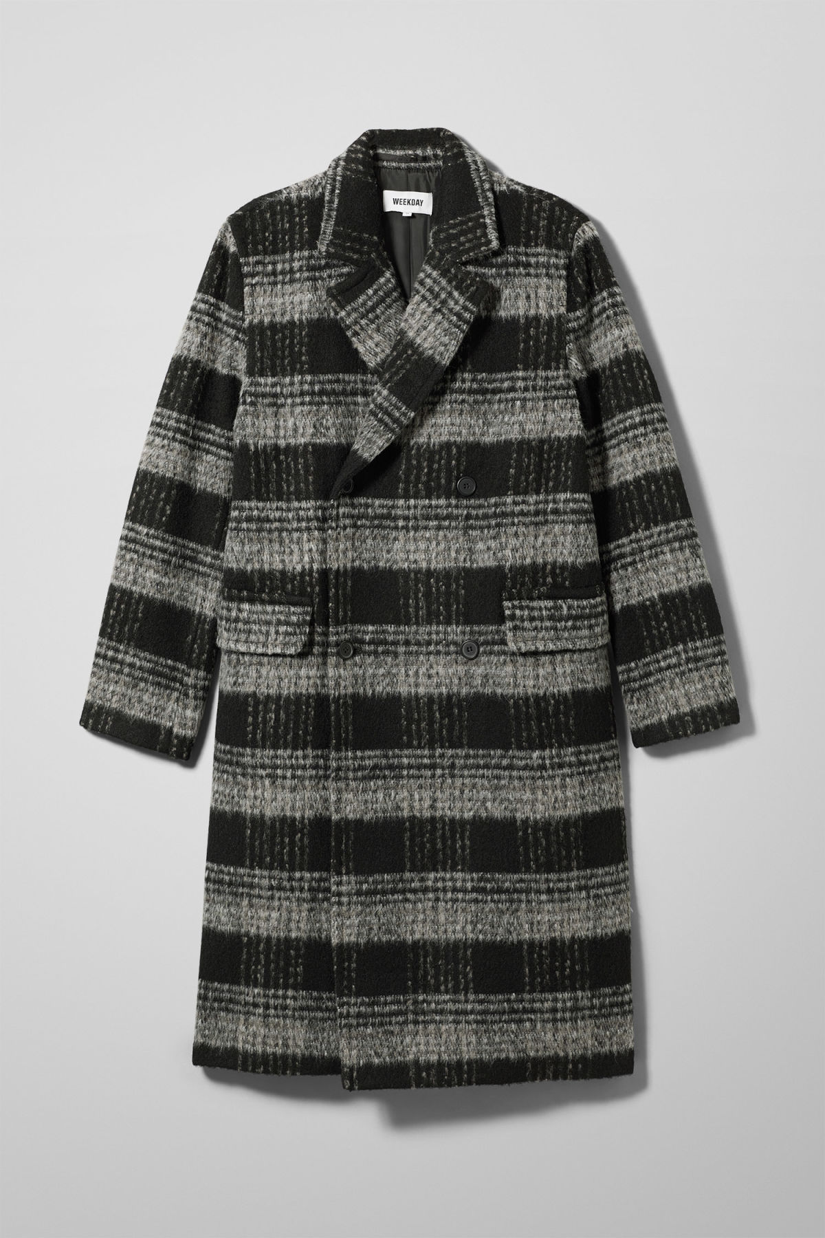Front image of Weekday tristan checked coat in black