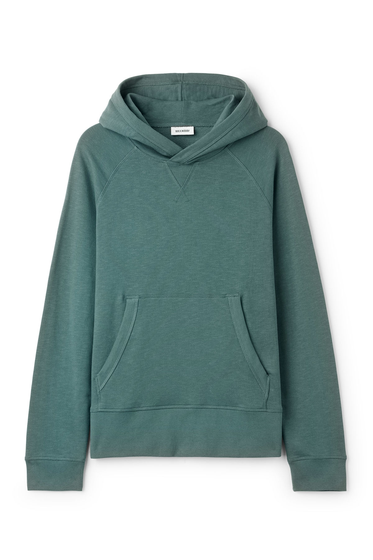 Front image of Weekday noah hoodie in turquoise