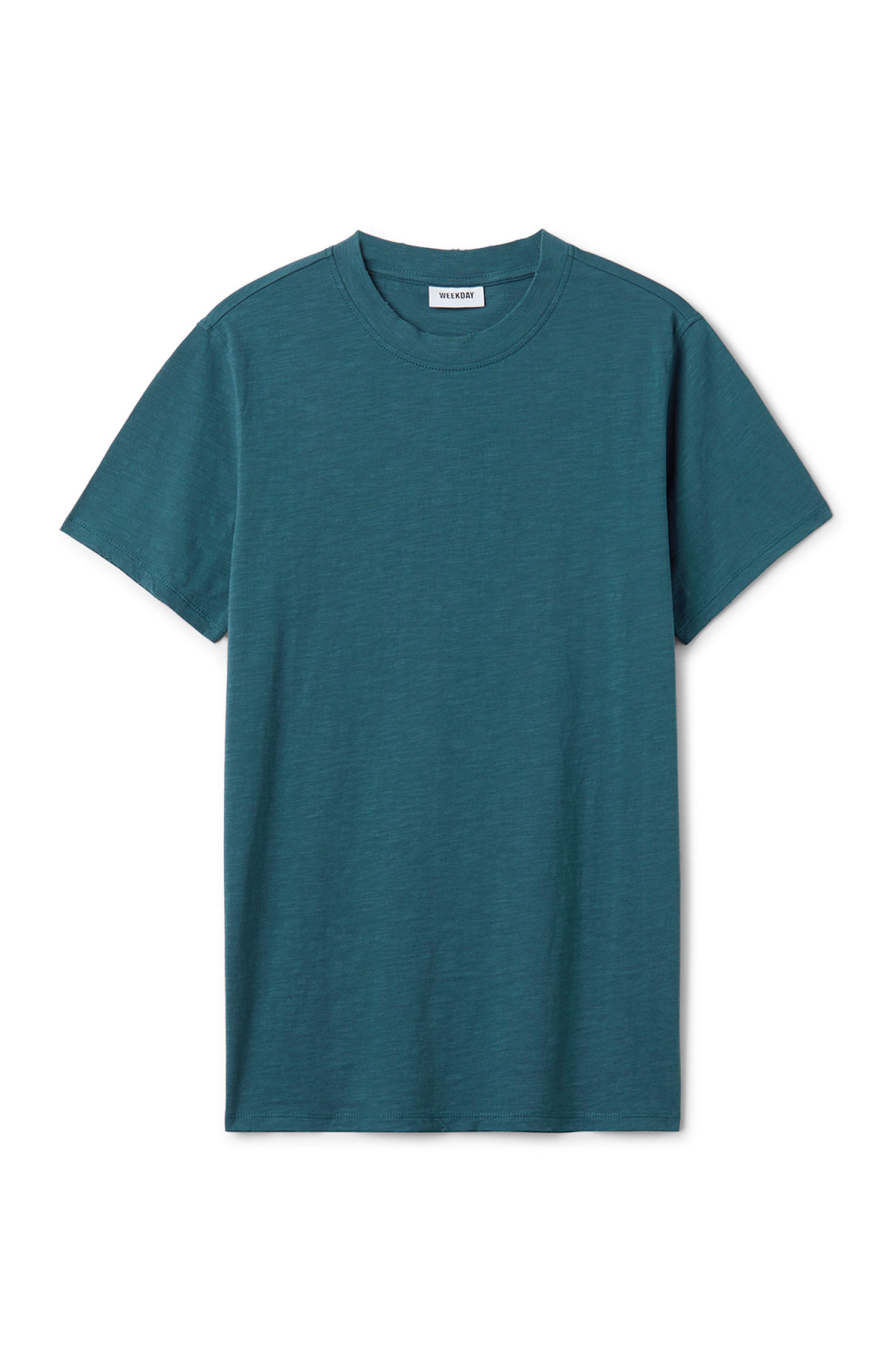 Front image of Weekday bob broken t-shirt in blue