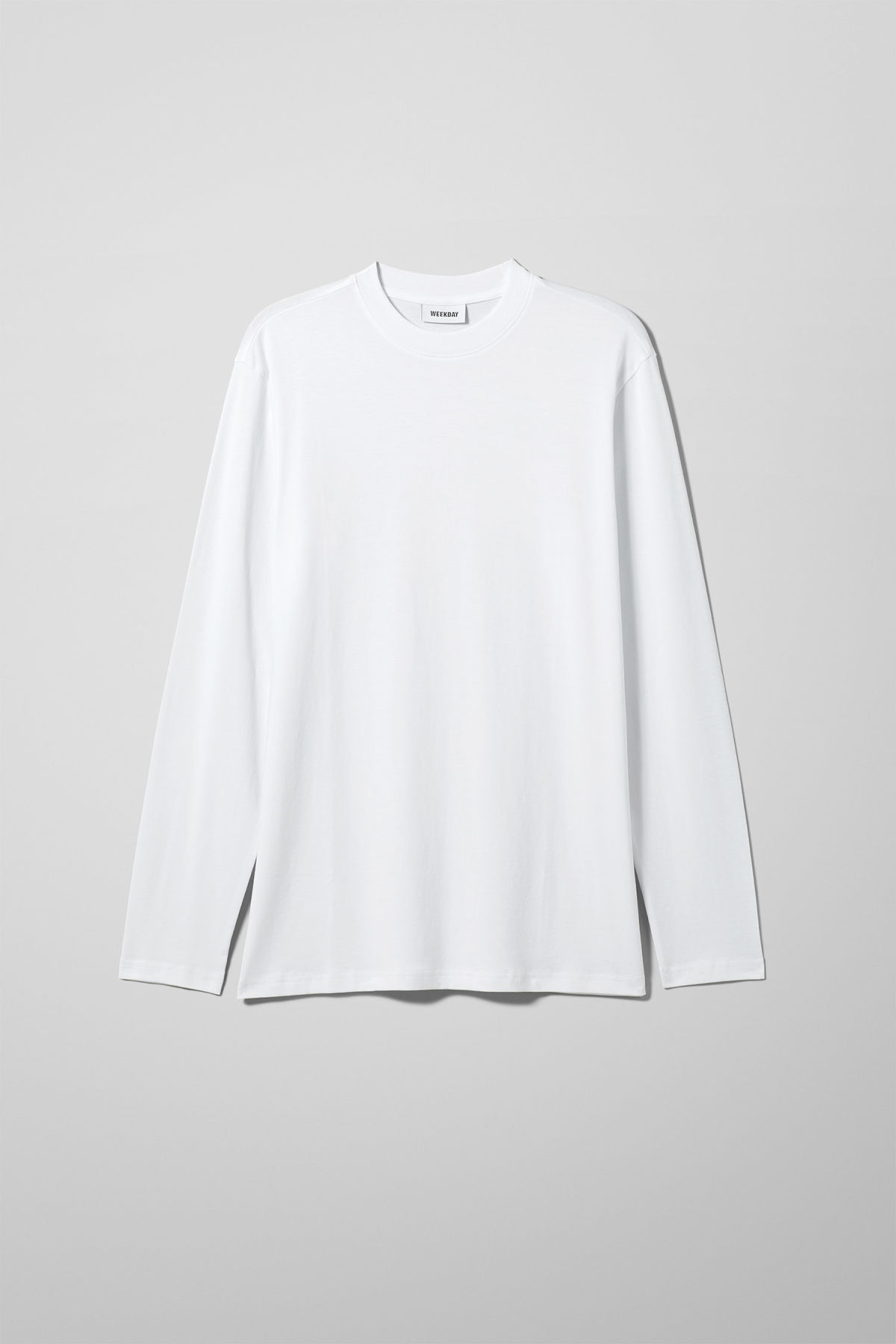 Front image of Weekday jake long sleeve in white