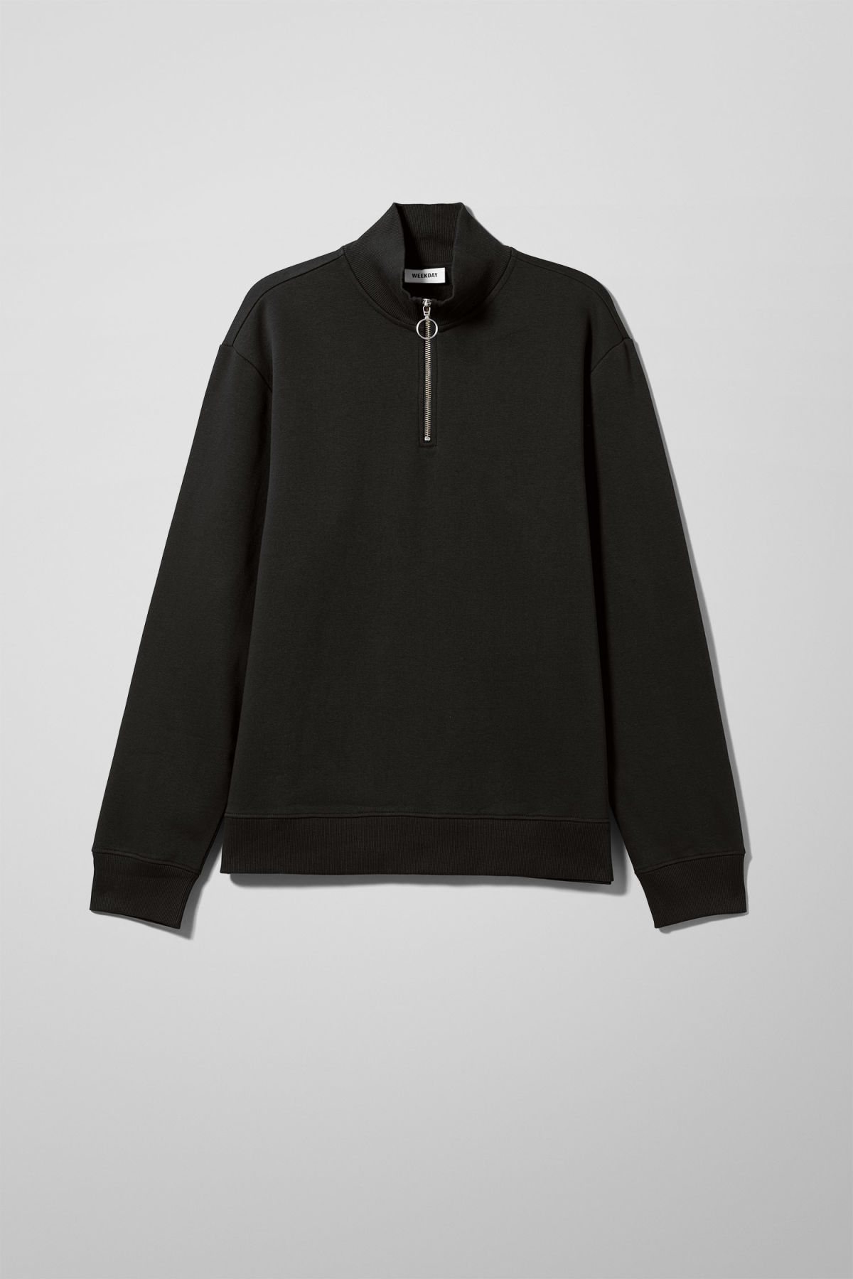 Front image of Weekday martin zip sweatshirt  in black