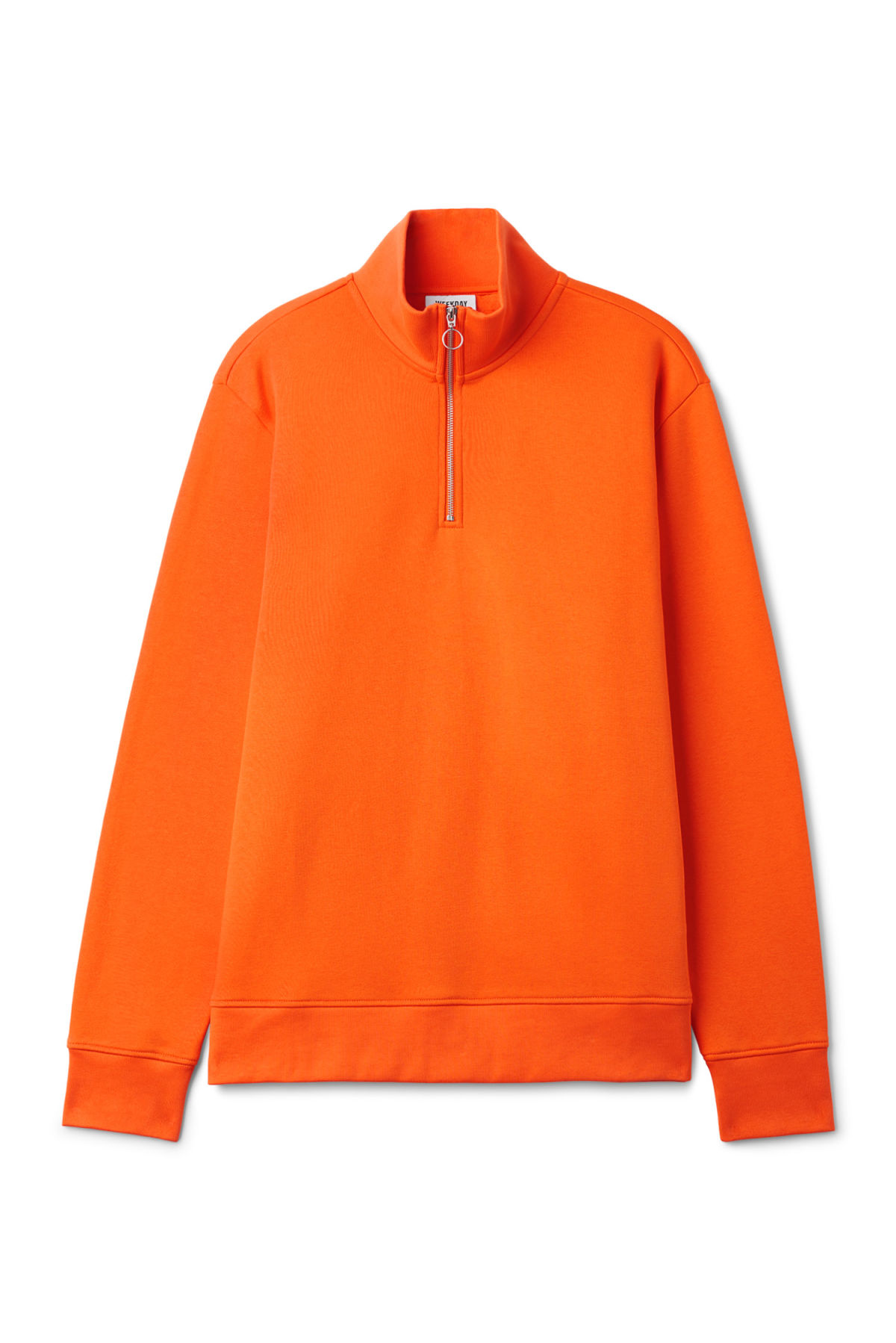 Front image of Weekday martin zip sweatshirt  in orange
