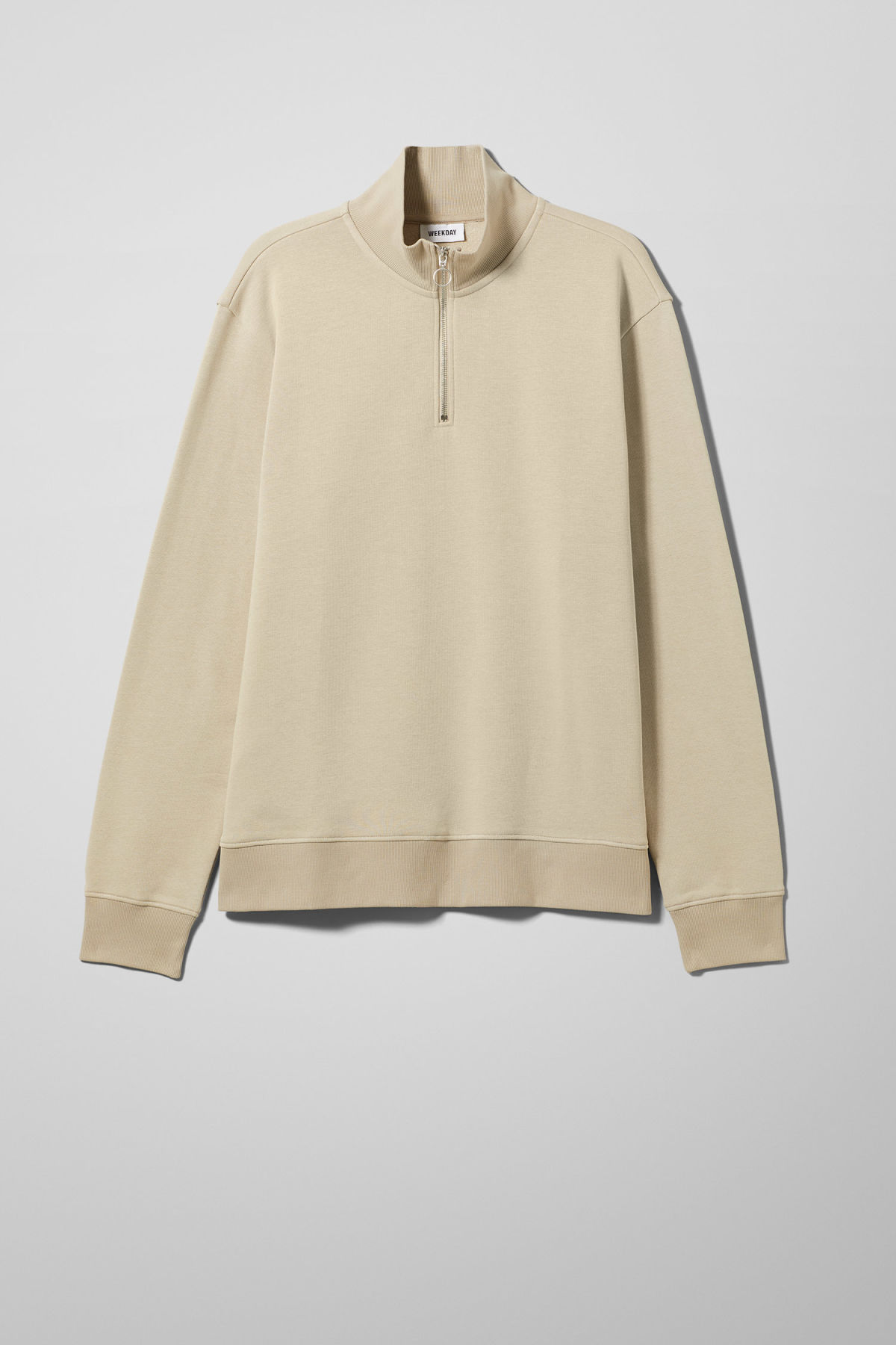 Front image of Weekday martin zip sweatshirt  in brown