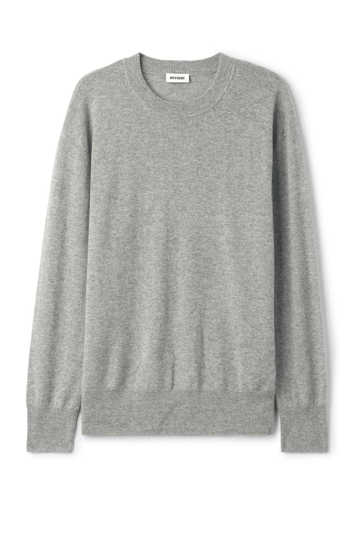 Front image of Weekday earl cashmere sweater in grey