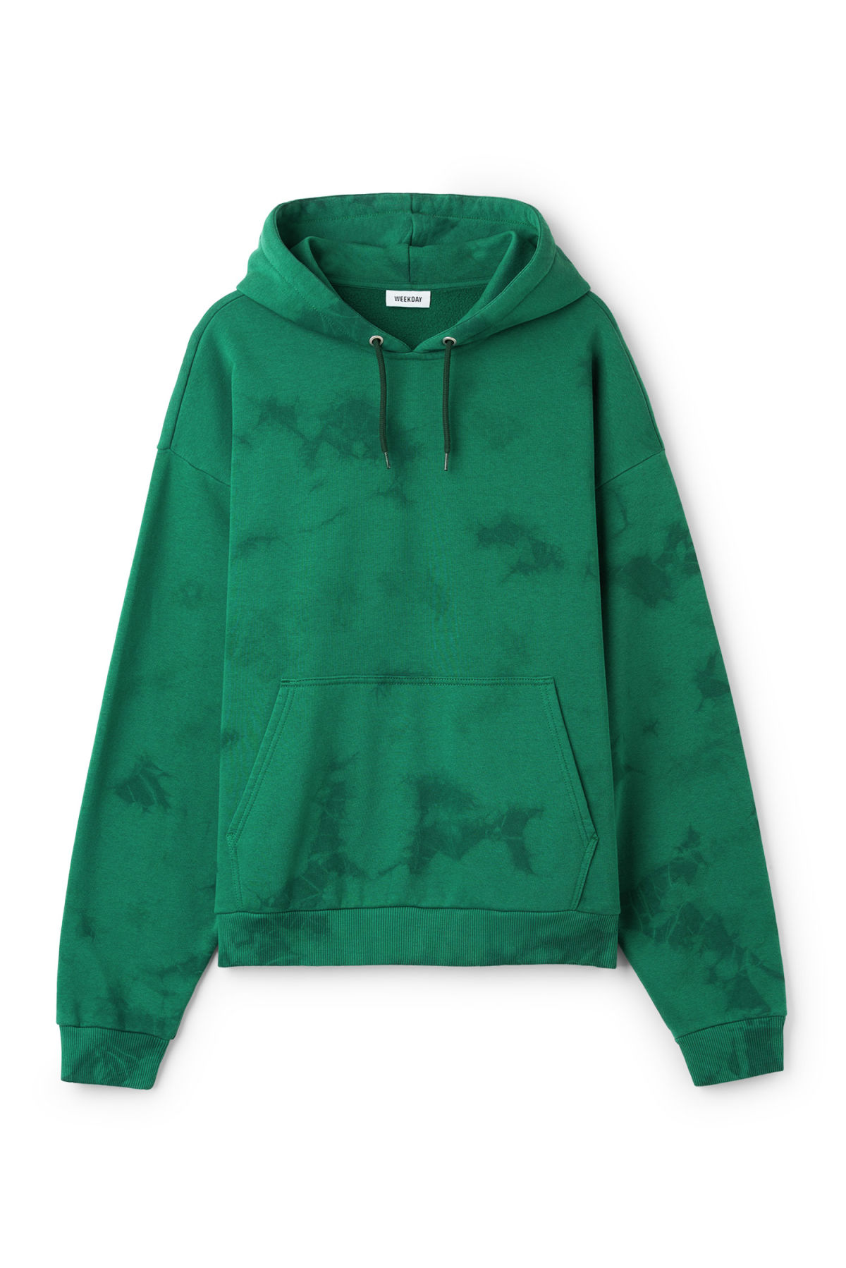 Front image of Weekday big hawk tie dye hoodie in green