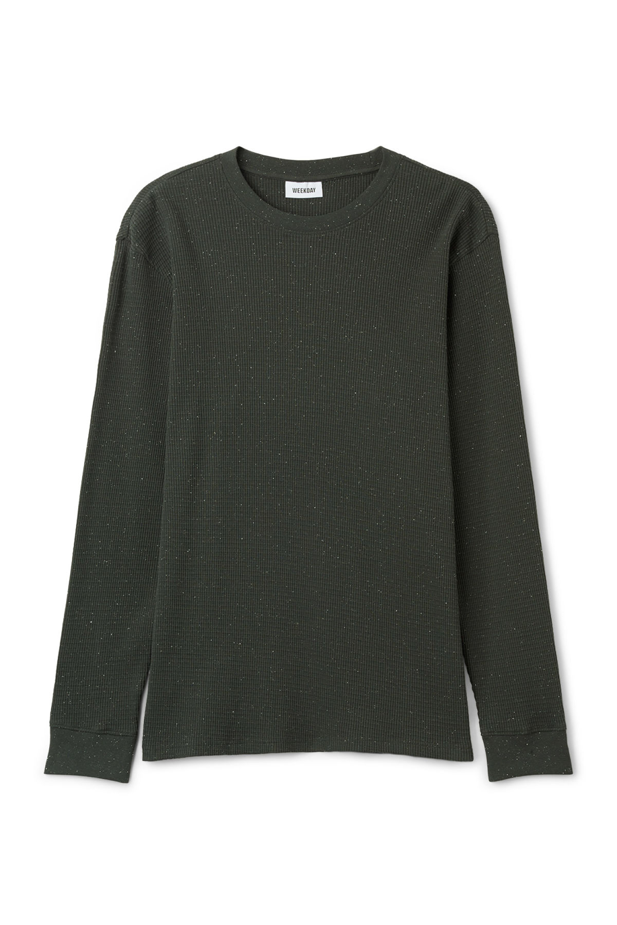 Front image of Weekday jeff neps long sleeve in black