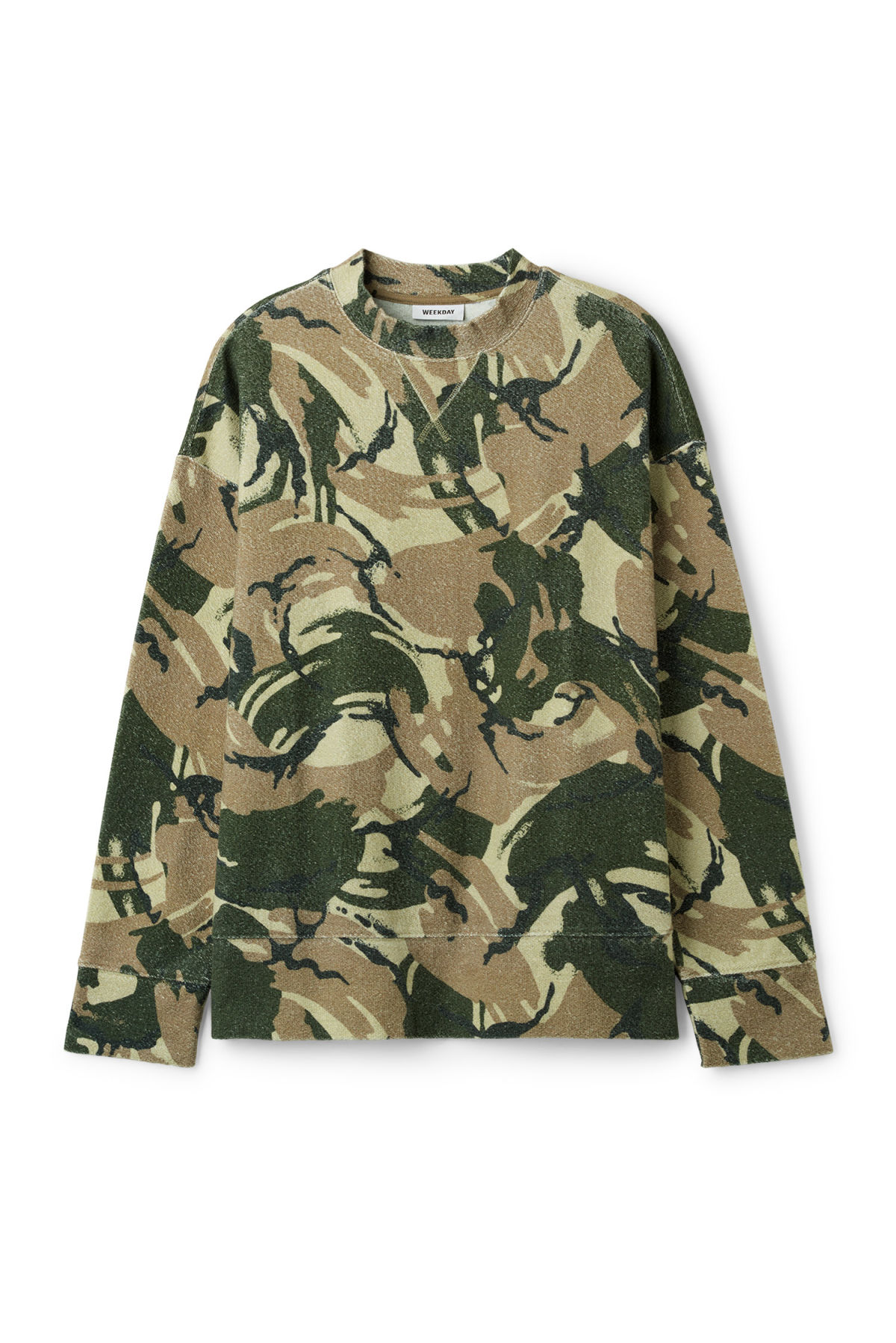 Front image of Weekday kyle camo sweatshirt in green