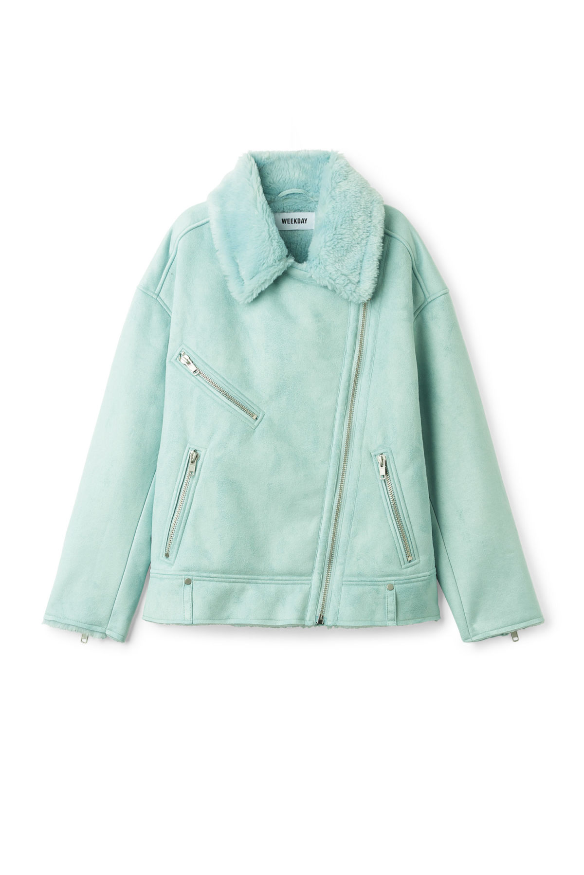 Front image of Weekday nora jacket  in turquoise