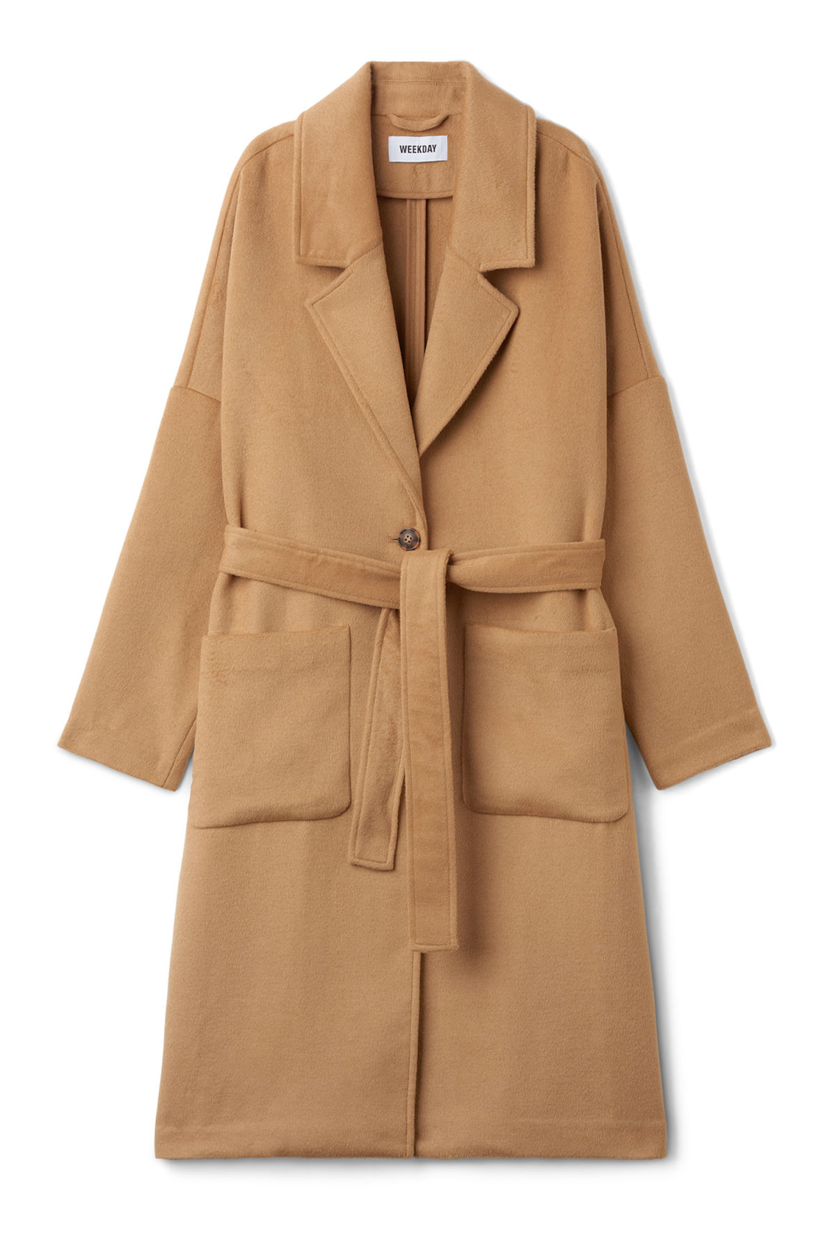 Front image of Weekday gry coat in beige