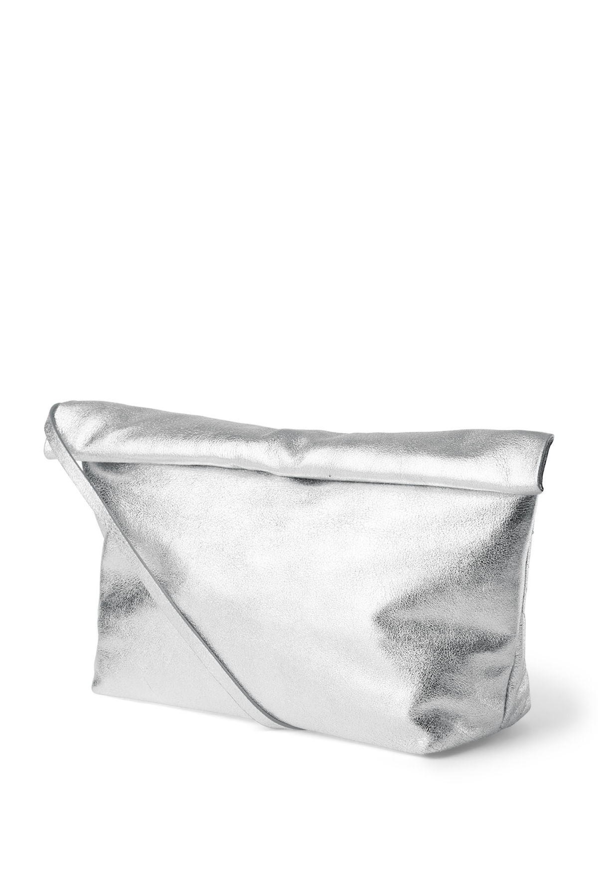 Front image of Weekday roller leather bag in silver