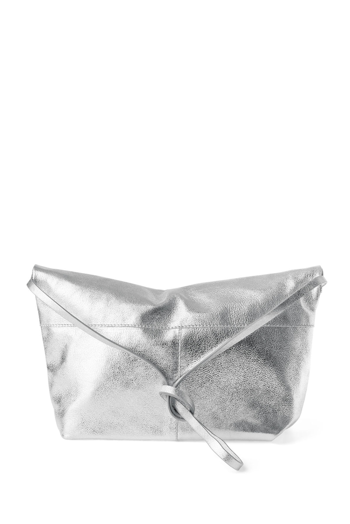 Back image of Weekday roller leather bag in silver