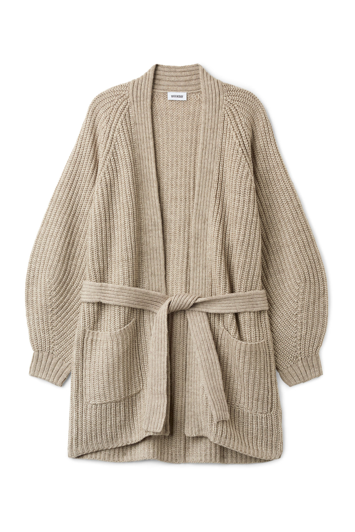 Front image of Weekday clash cardigan in grey