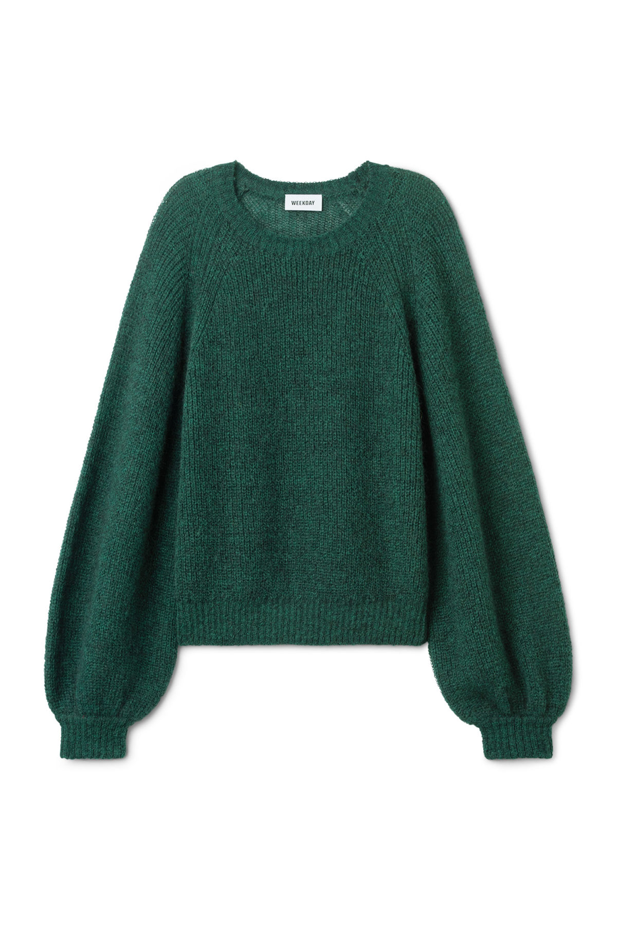 Front image of Weekday joni sweater in green