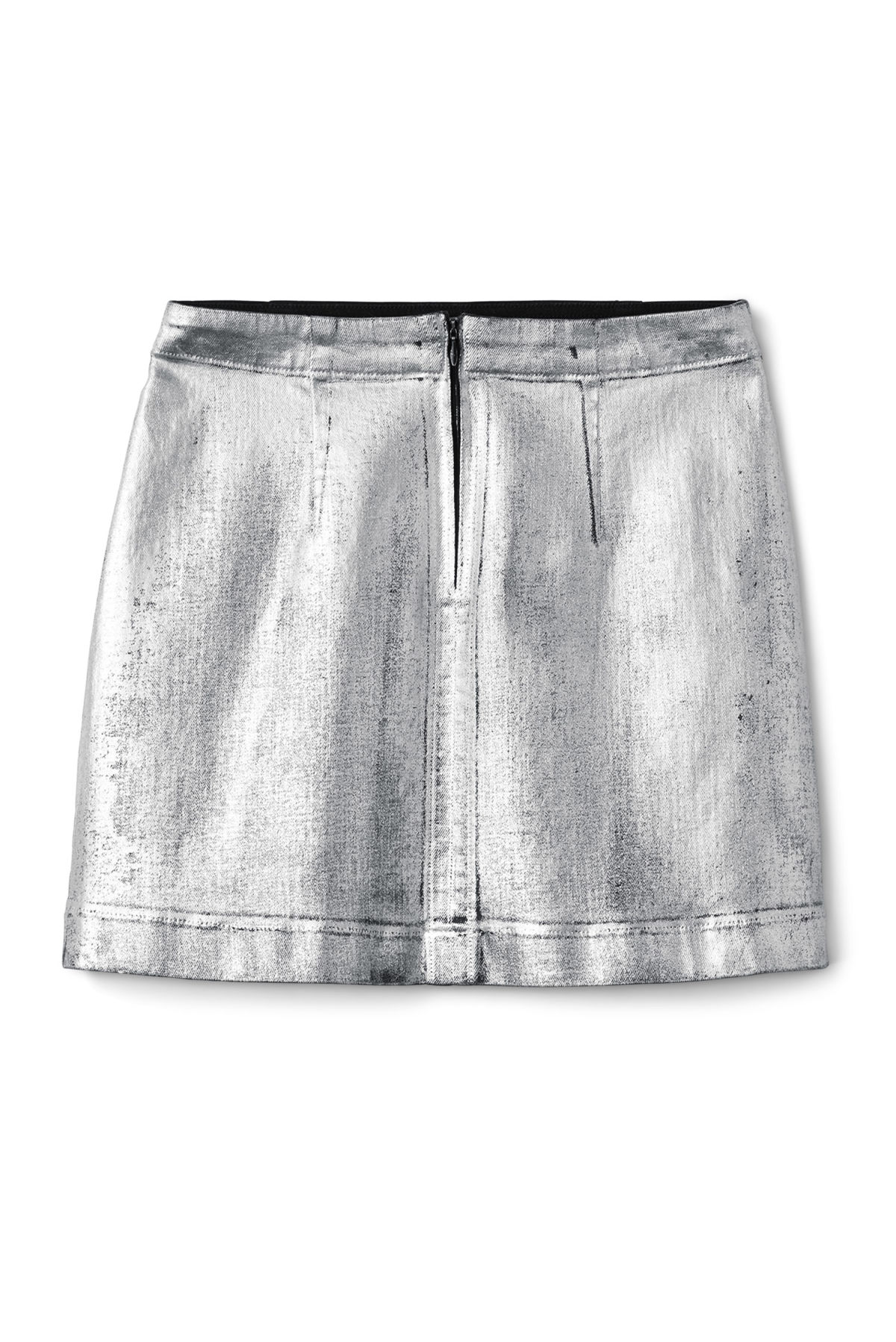 Front image of Weekday shell skirt silver coated in silver