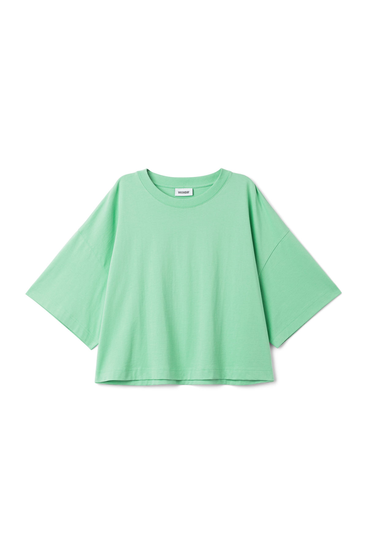 Front image of Weekday huge t-shirt in green