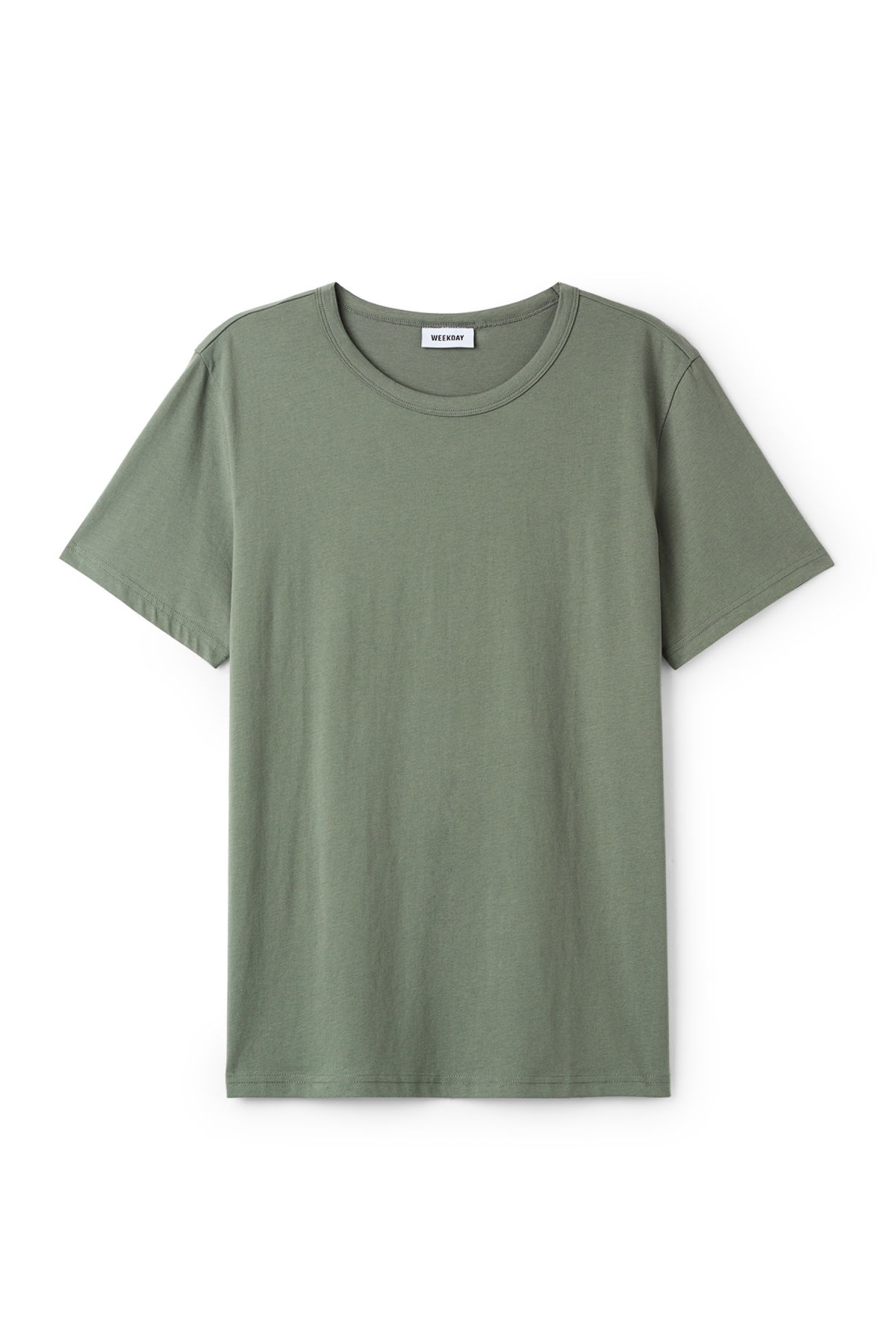 Front image of Weekday lee t-shirt in green