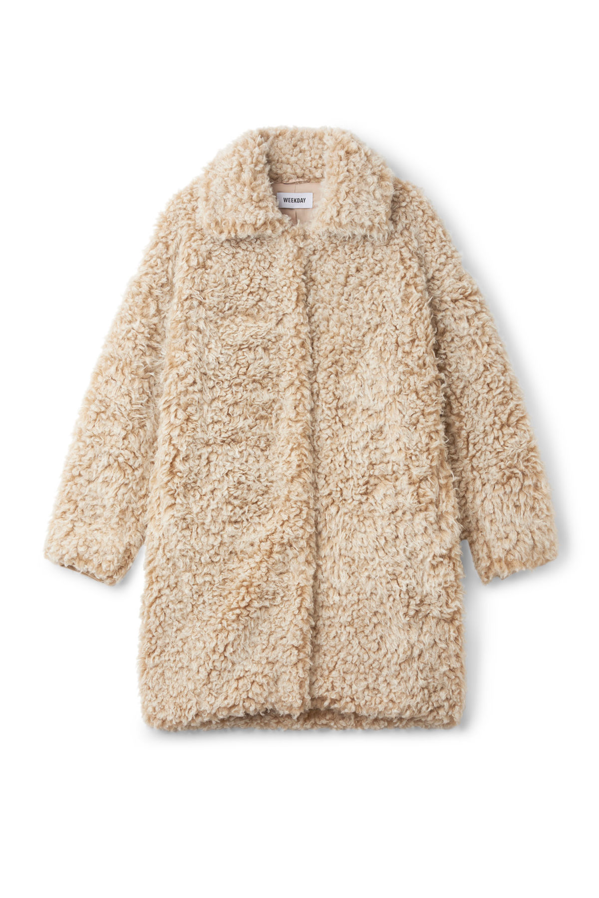 Front image of Weekday janis fur coat in white
