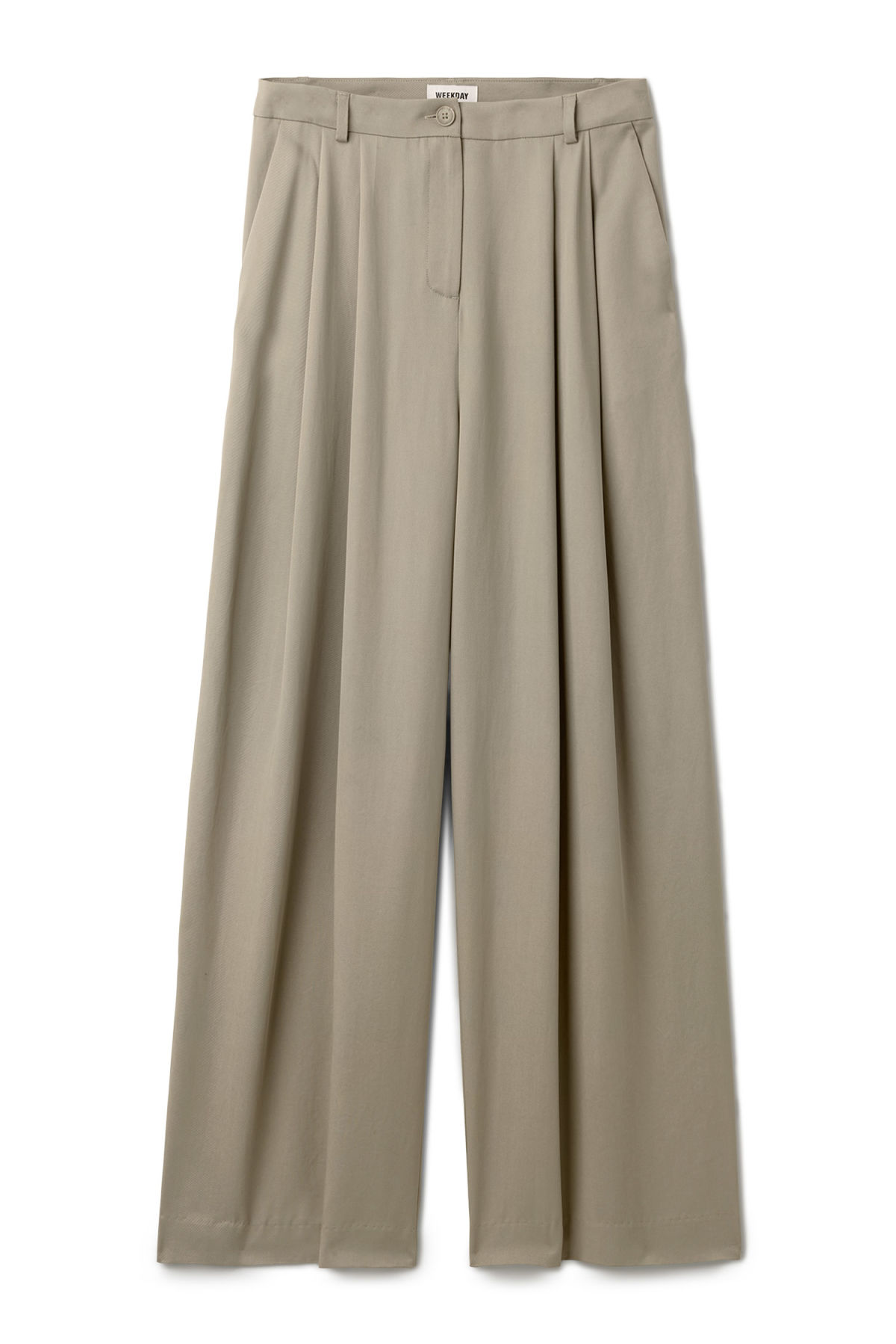 Front image of Weekday ella trousers in grey