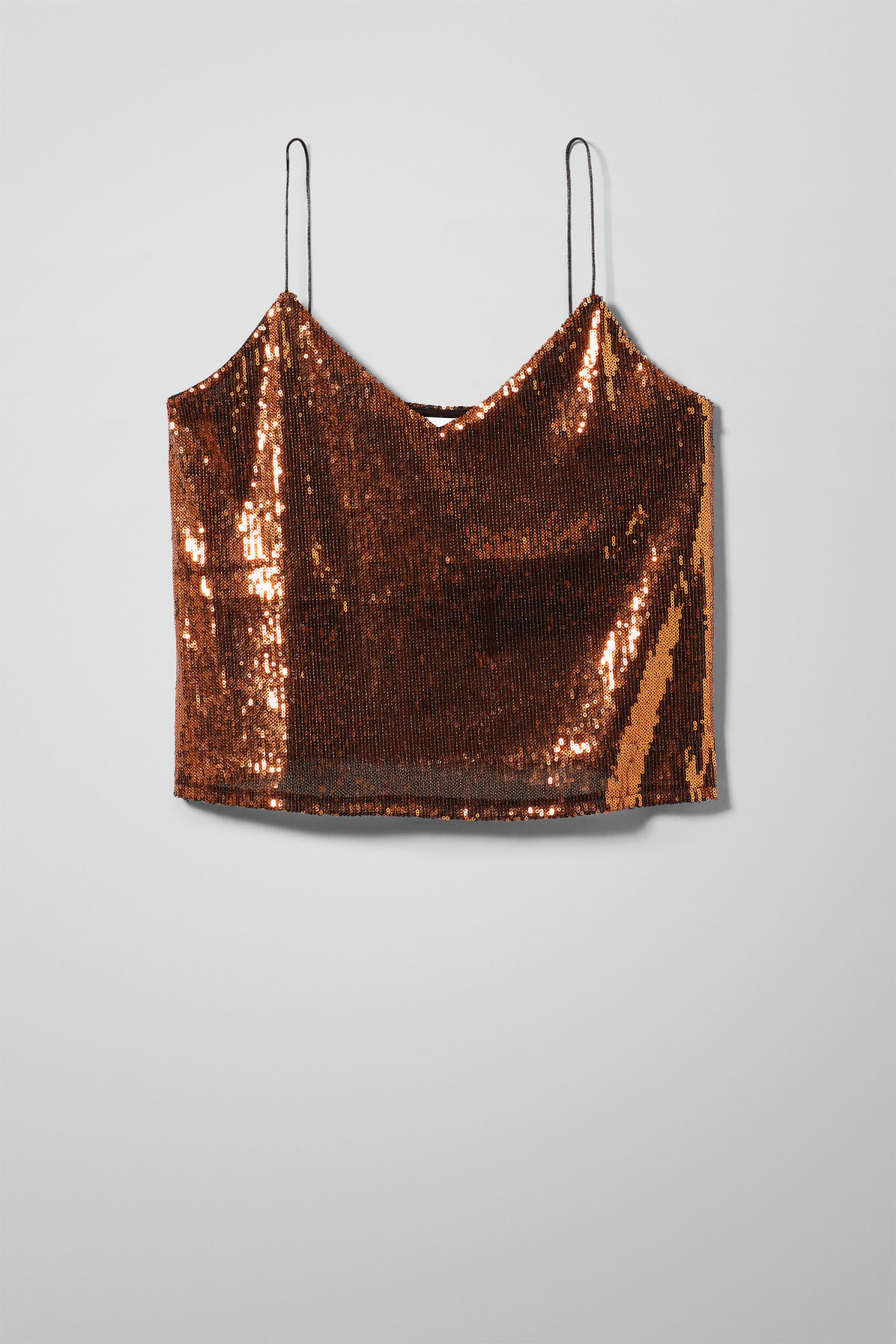 Front image of Weekday nicki sequin singlet in orange