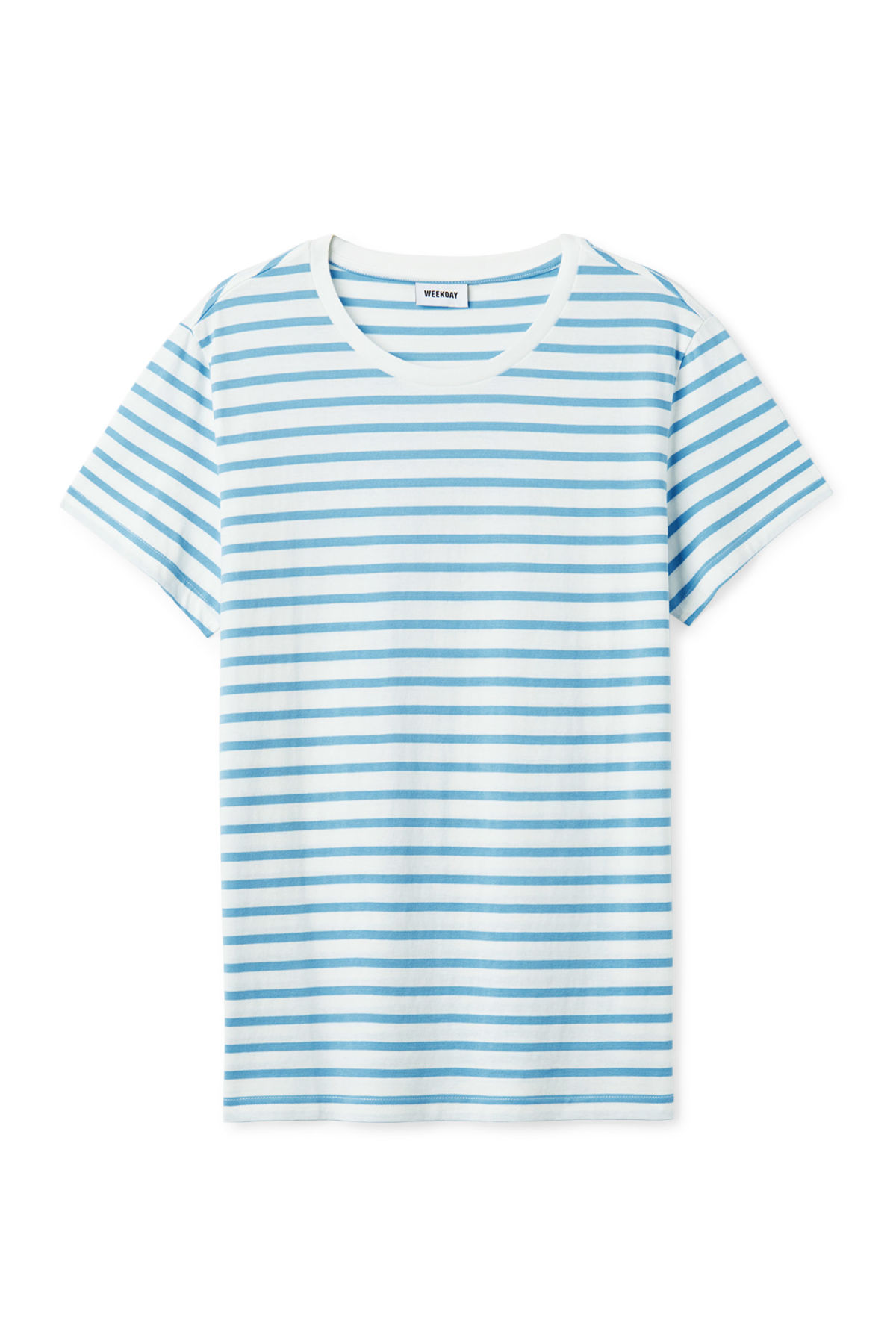 Front image of Weekday alex stripe t-shirt in blue